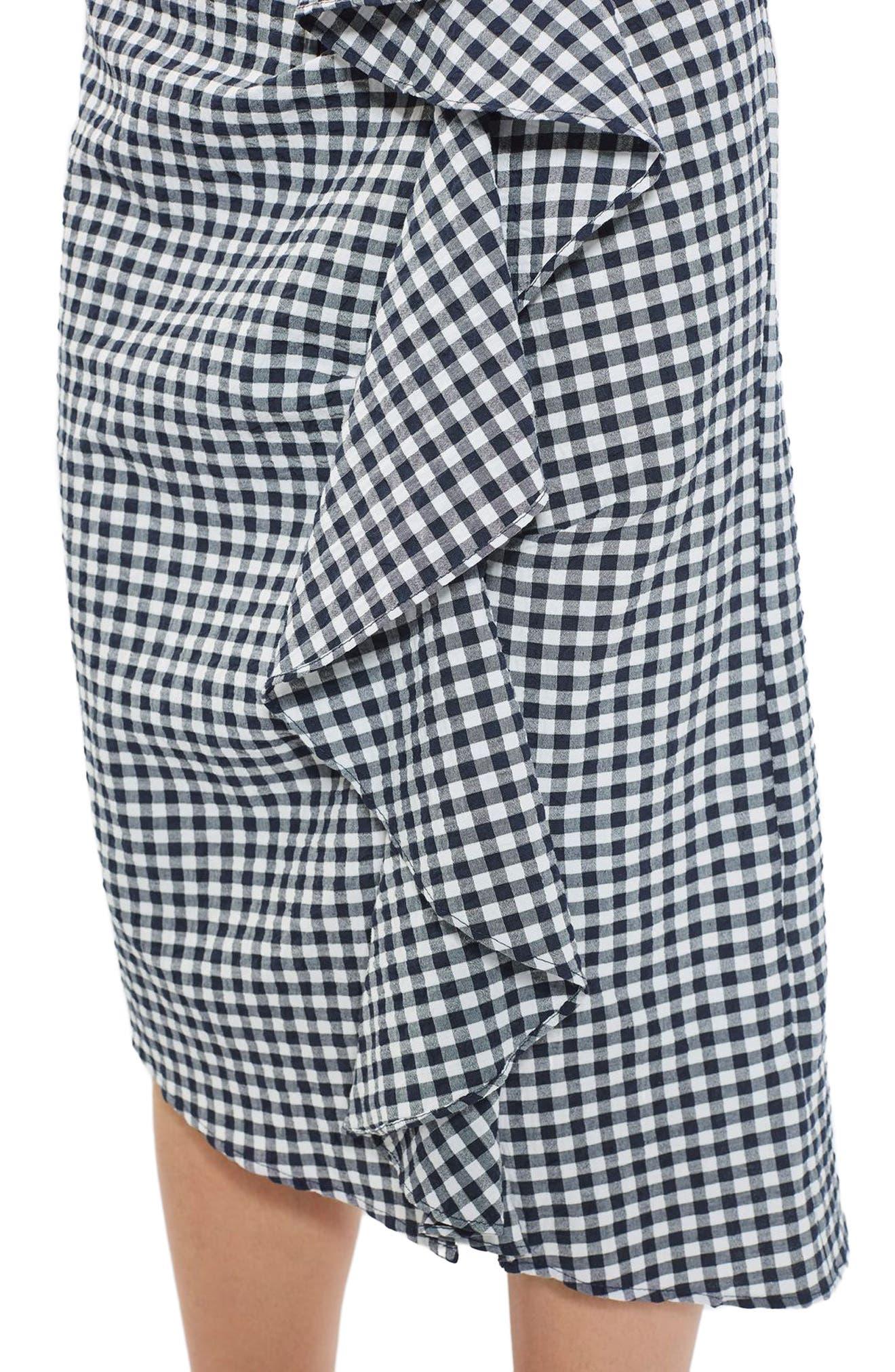 Alternate Image 4  - Topshop Ruffle Gingham Midi Skirt