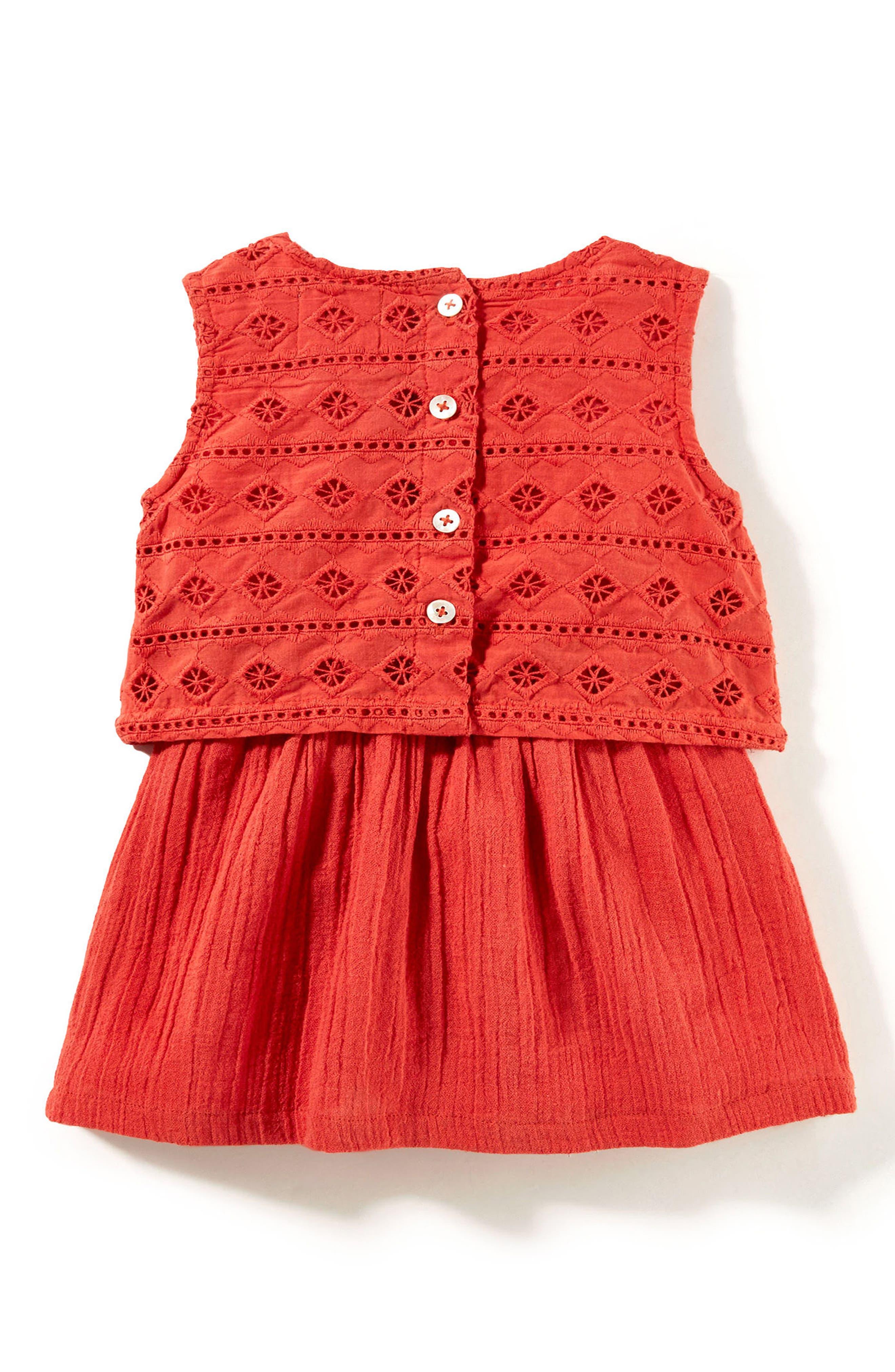 Alternate Image 2  - Peek Embroidered Popover Dress (Baby Girls)