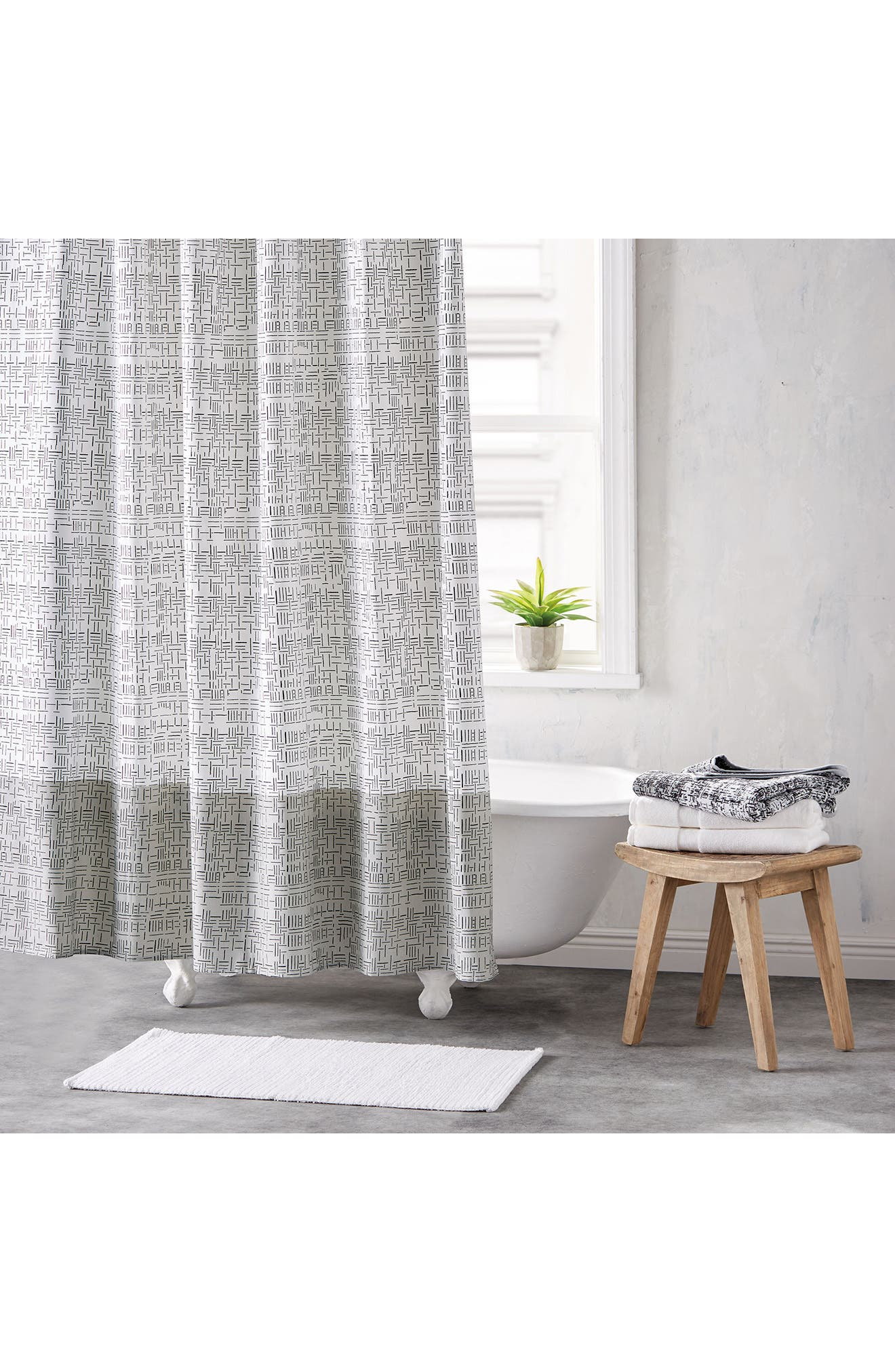 DKNY Geometric Shower Curtain