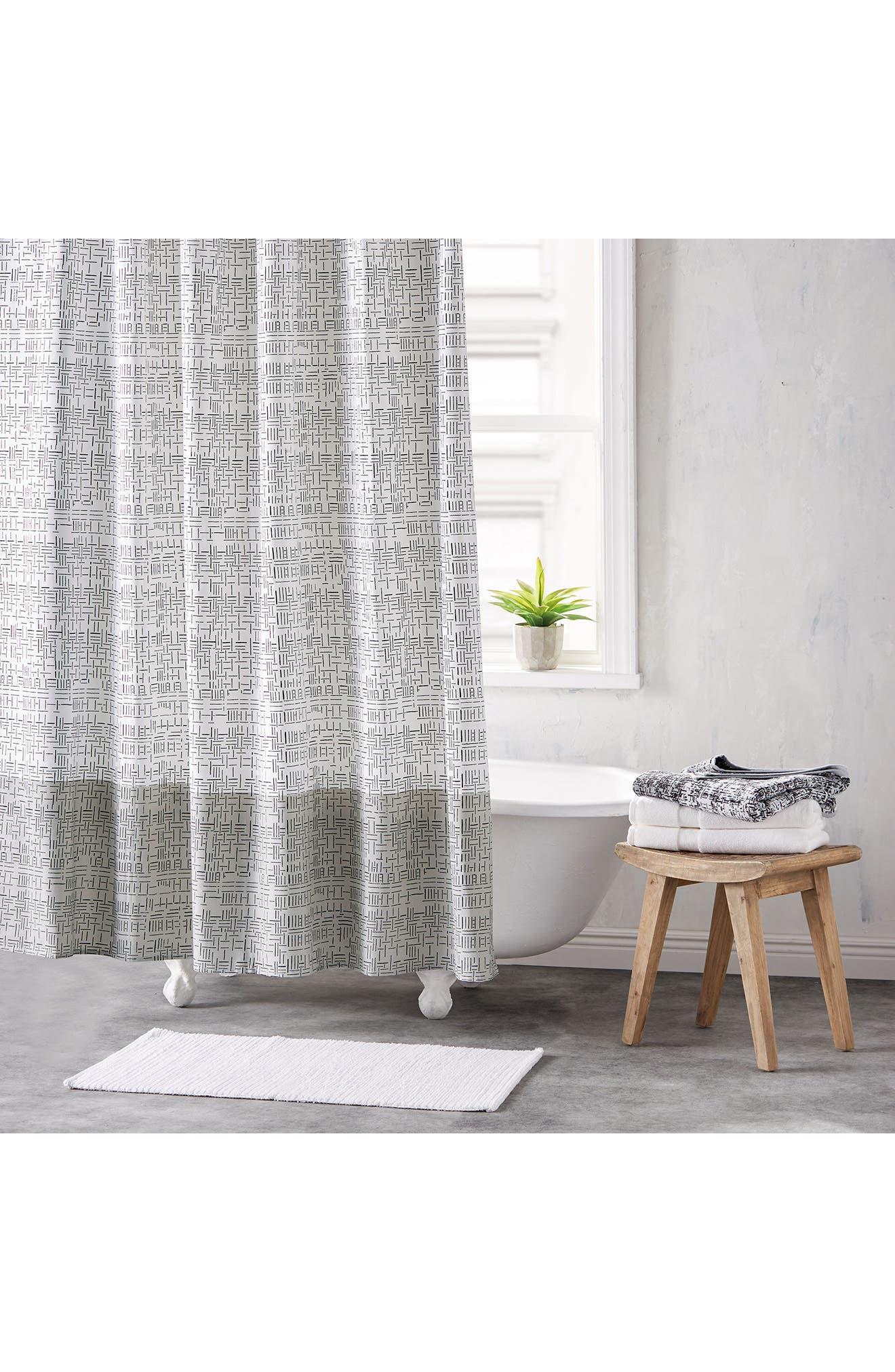 DKNY Geometric Shower Curtain
