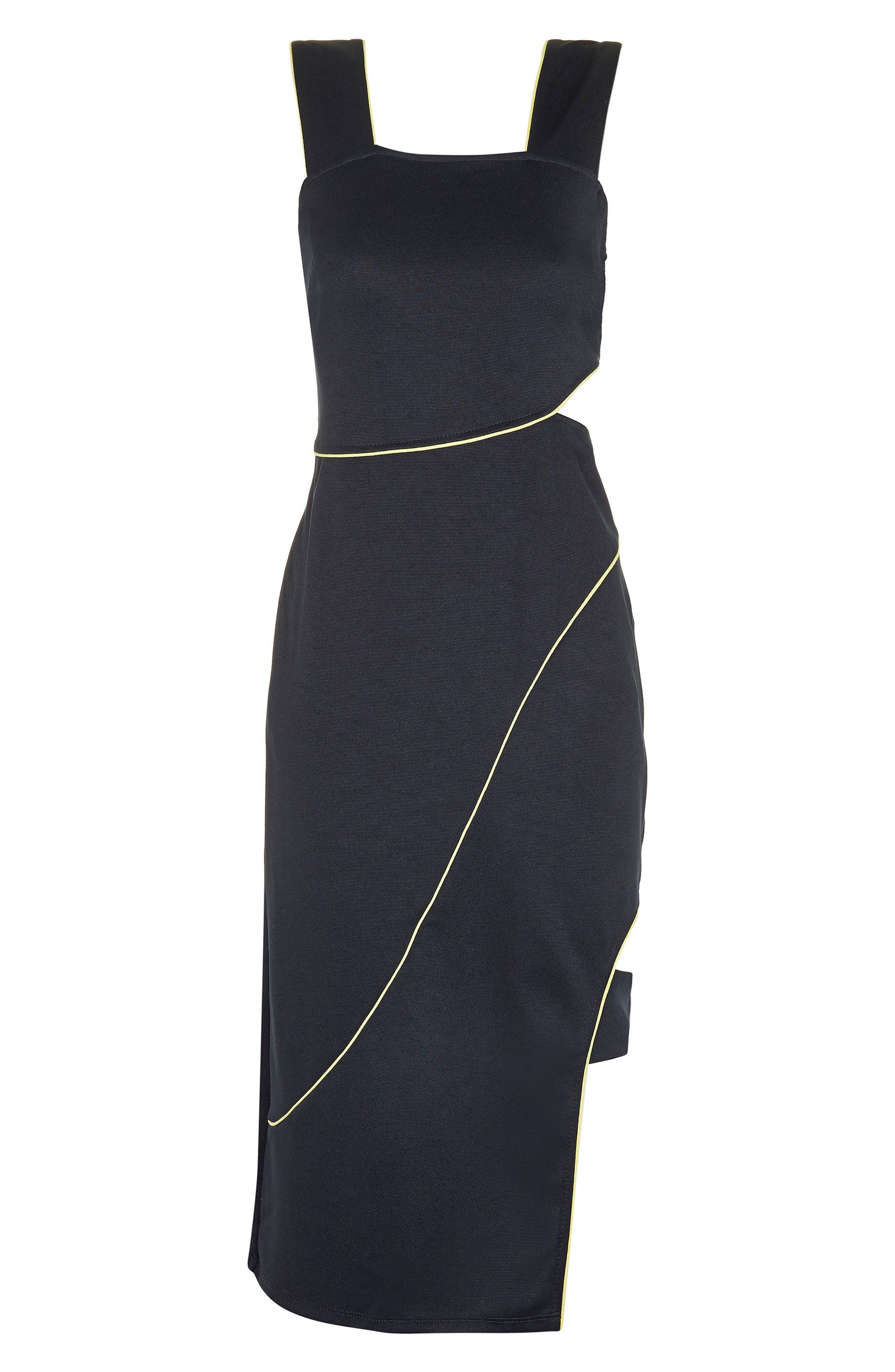 Alternate Image 4  - Topshop Piped Cutout Midi Dress