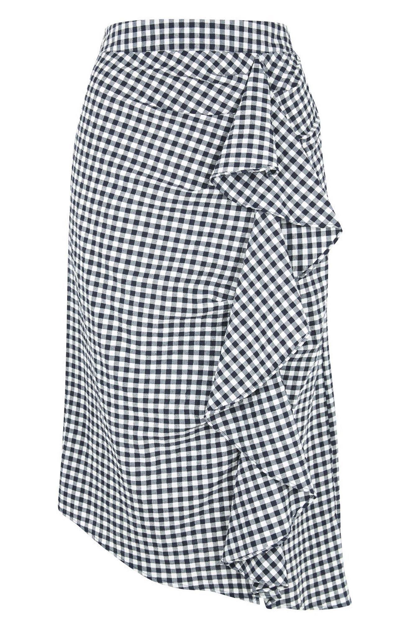 Alternate Image 5  - Topshop Ruffle Gingham Midi Skirt