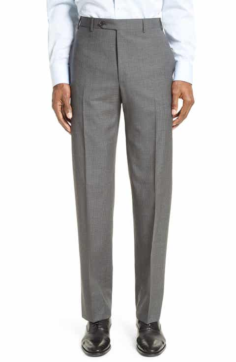 Canali Flat Front Check Wool Trousers