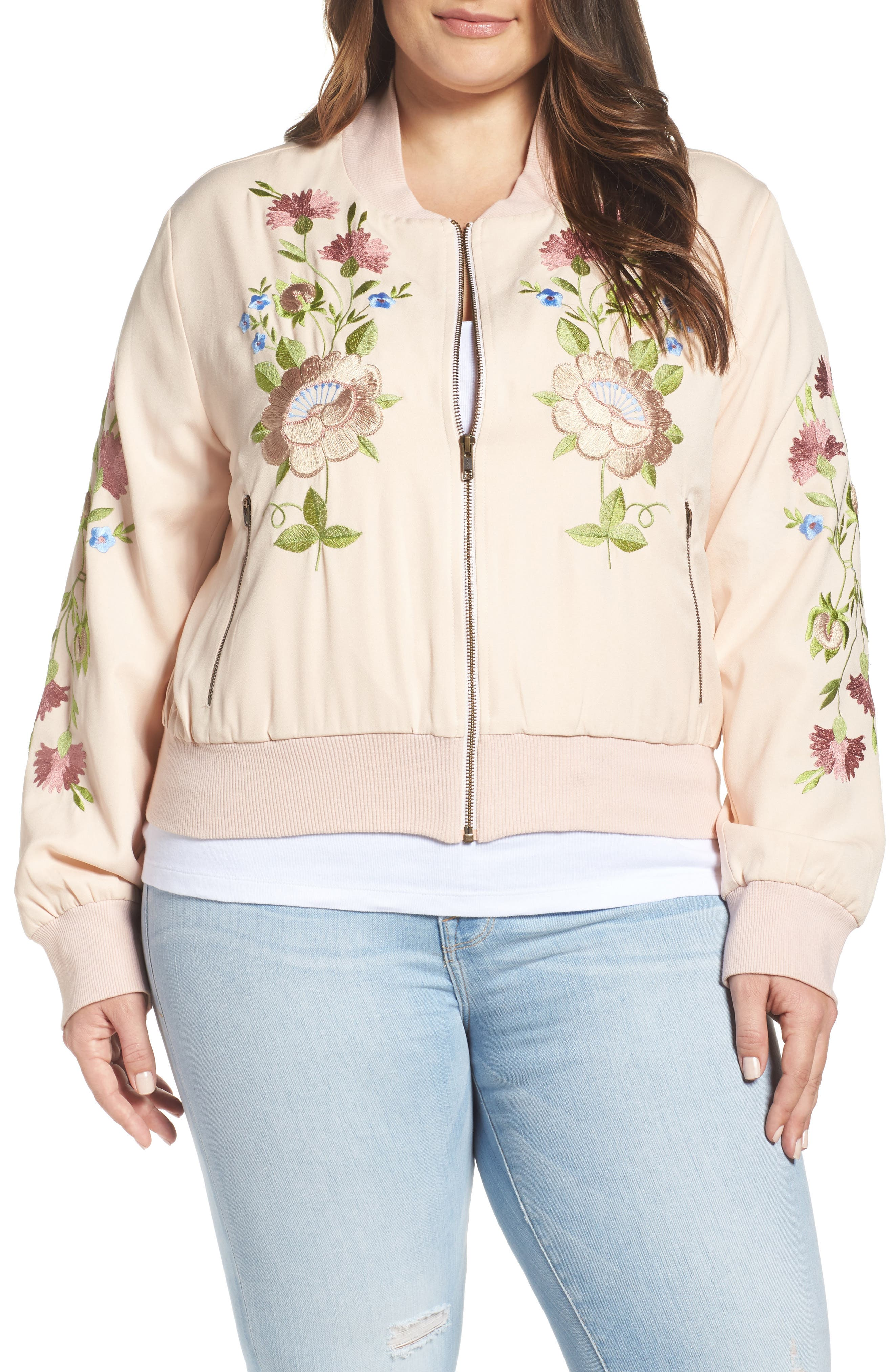 Alternate Image 1 Selected - Glamorous Floral Embroidered Bomber Jacket (Plus Size)