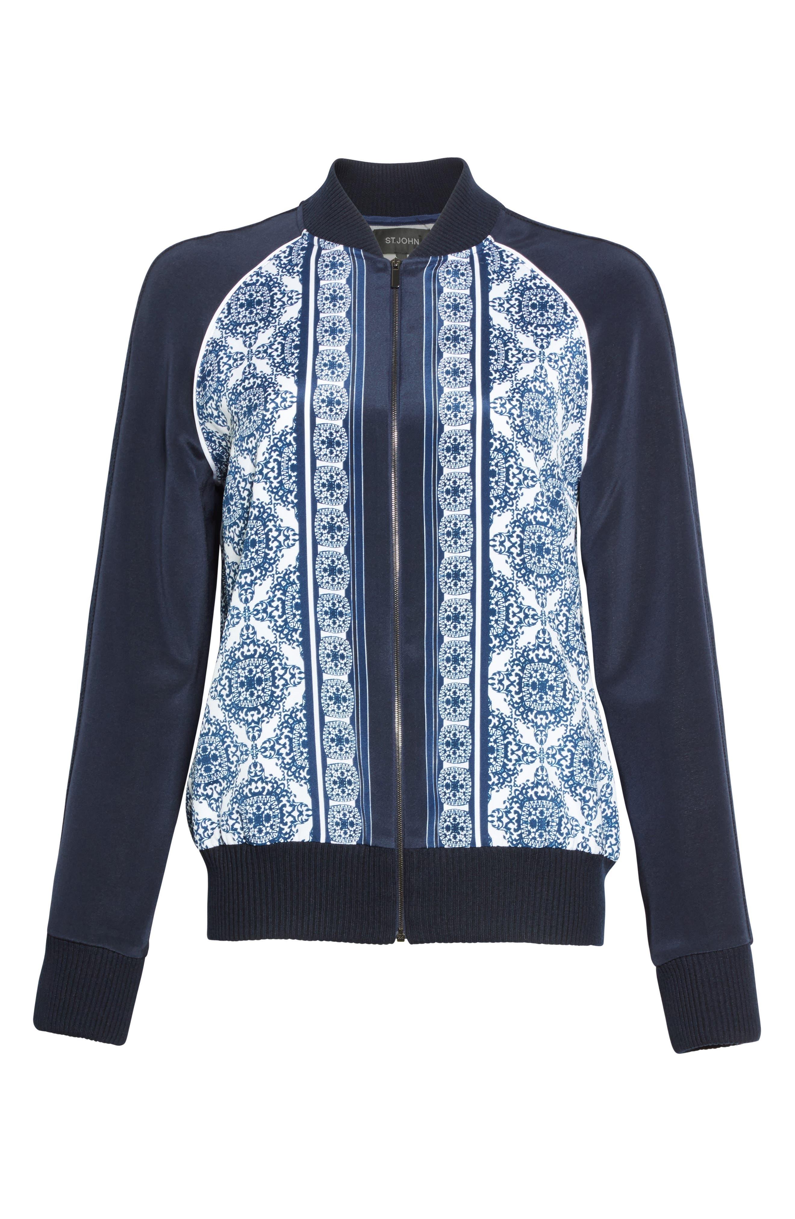 Alternate Image 7  - St. John Collection Kali Tile Print Stretch Silk Crêpe de Chine Bomber Jacket