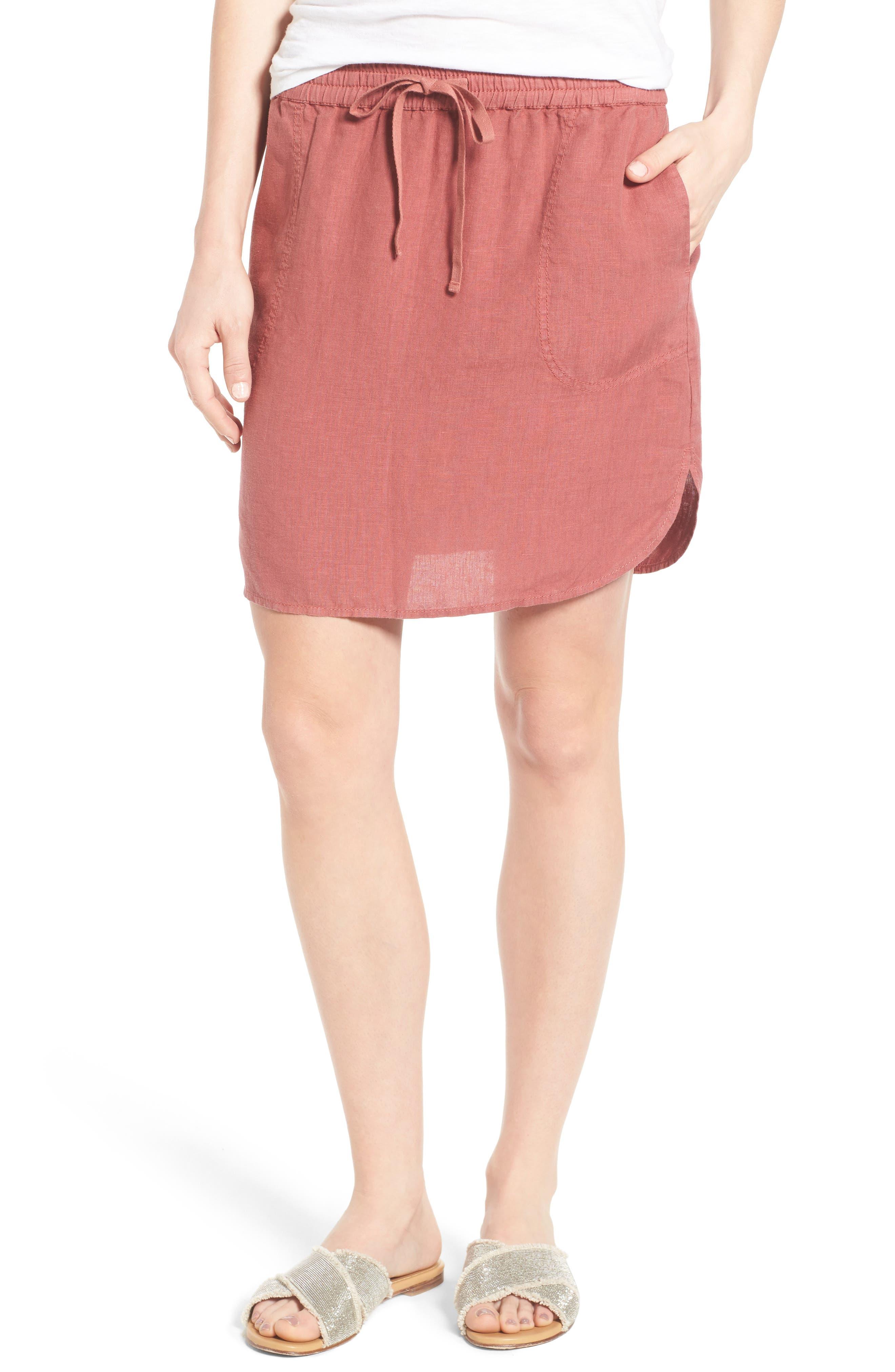Caslon® Easy Linen Skirt (Regular & Petite)