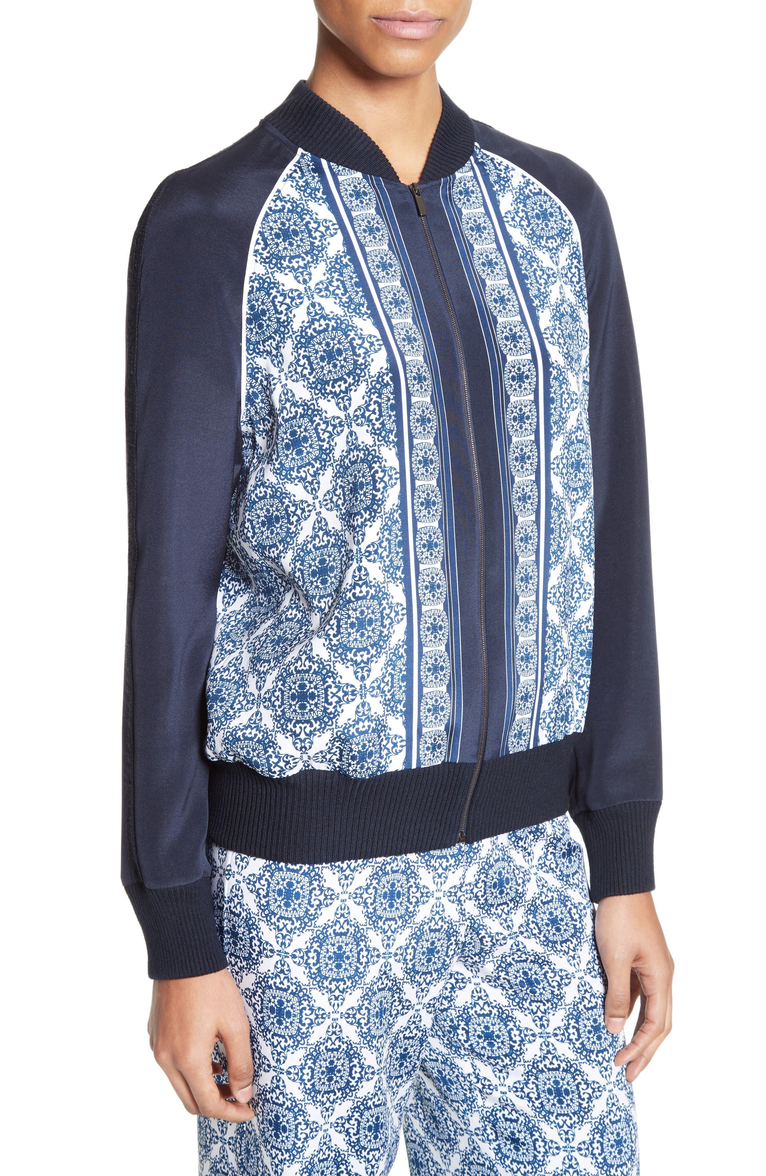 Alternate Image 5  - St. John Collection Kali Tile Print Stretch Silk Crêpe de Chine Bomber Jacket