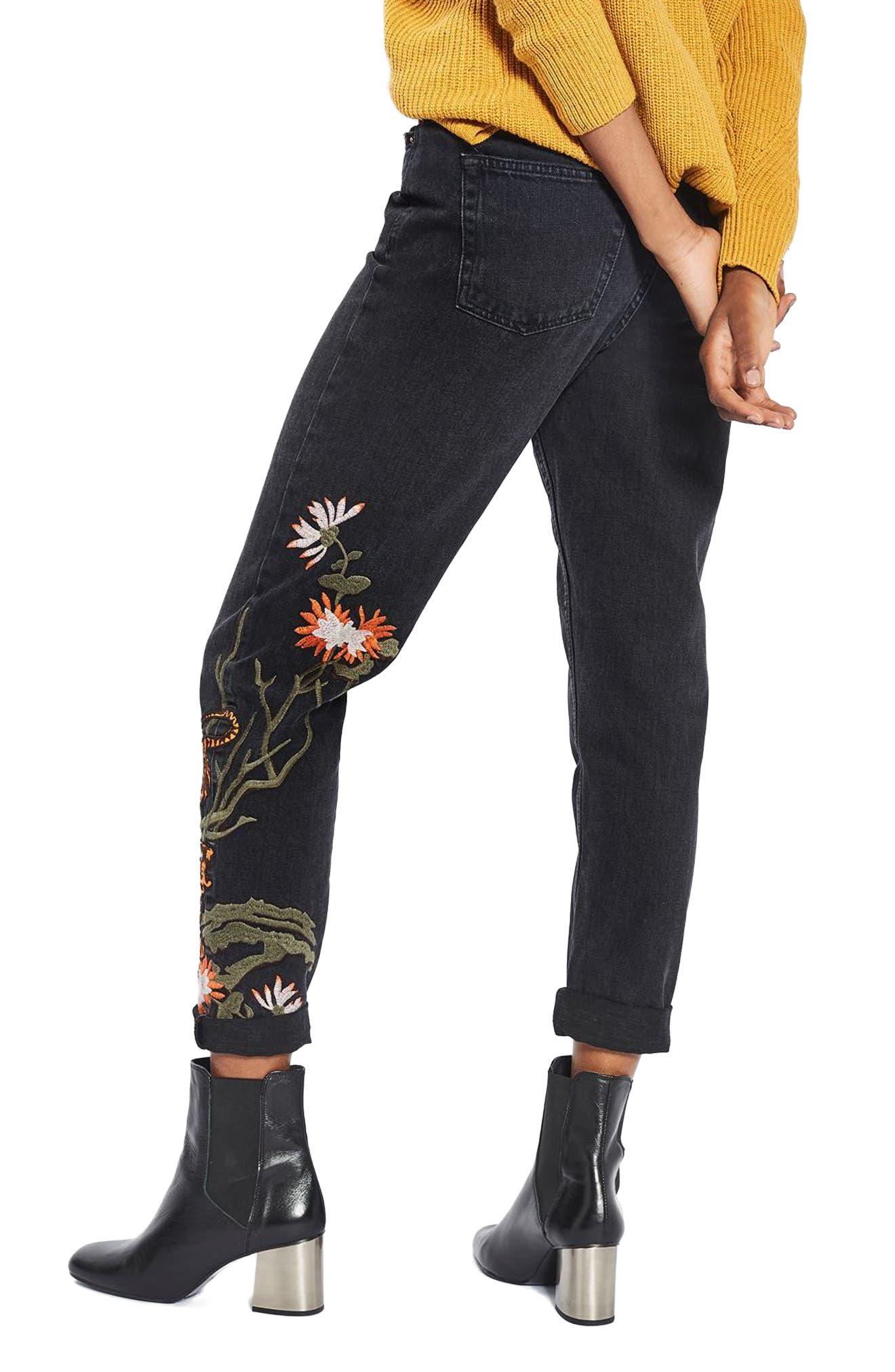 Alternate Image 3  - Topshop Tiger Embroidered Mom Jeans