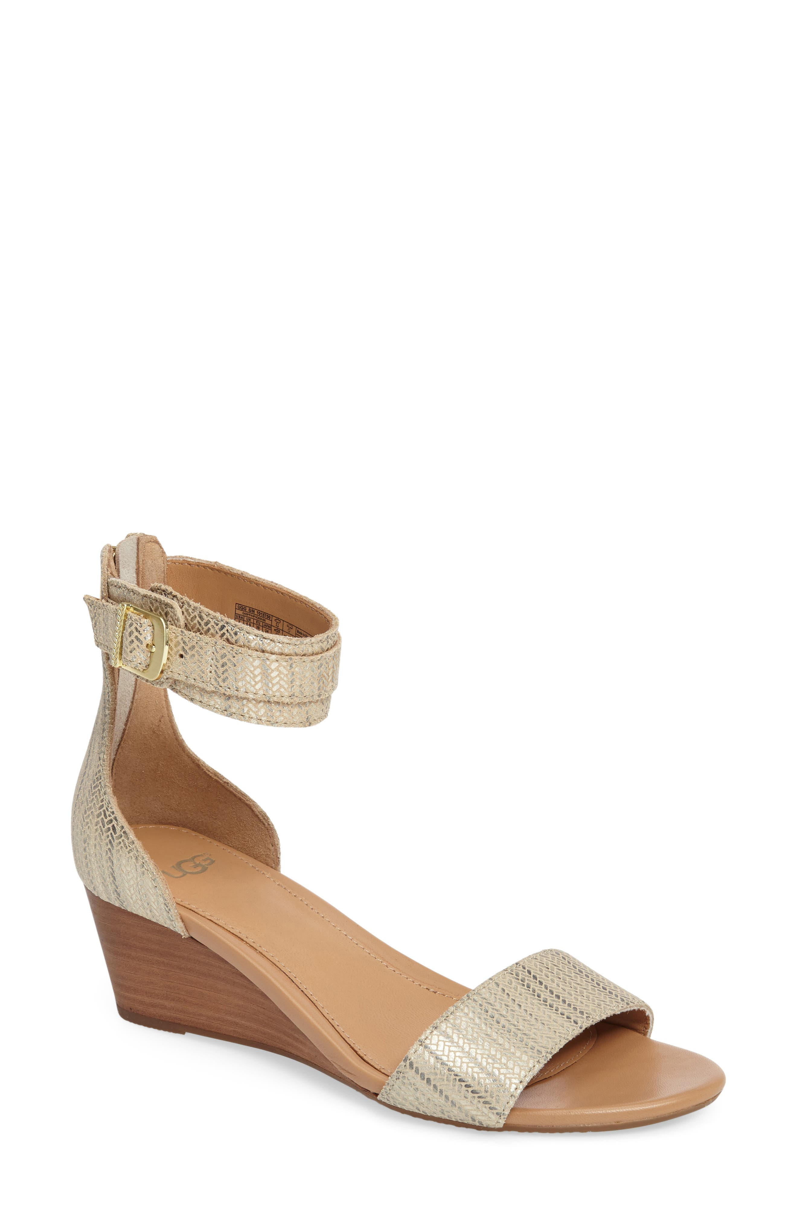 UGG® 'Char' Ankle Strap Wedge Sandal (Women)