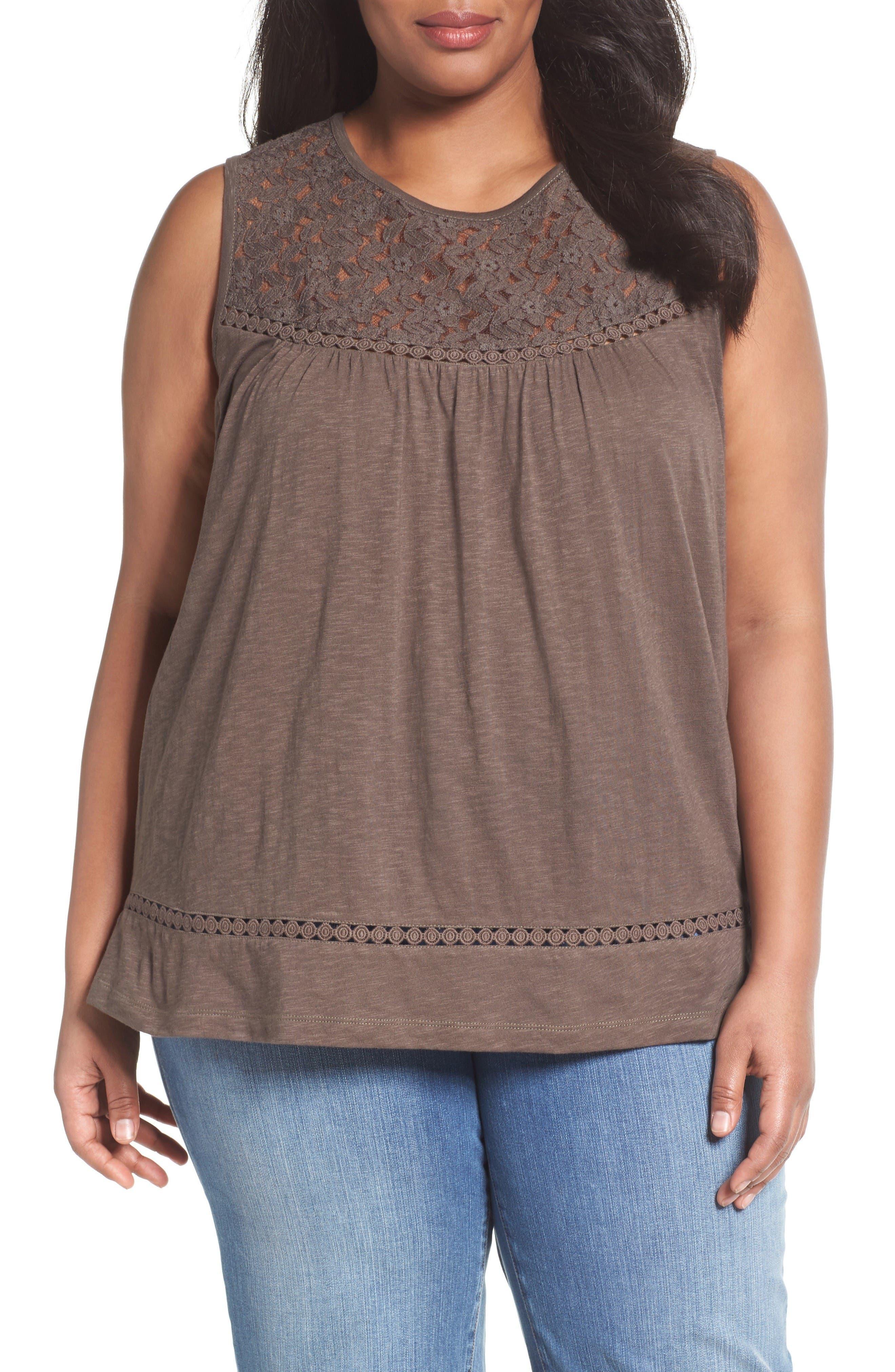 Caslon® Lace Trim Cotton Tank (Plus Size)