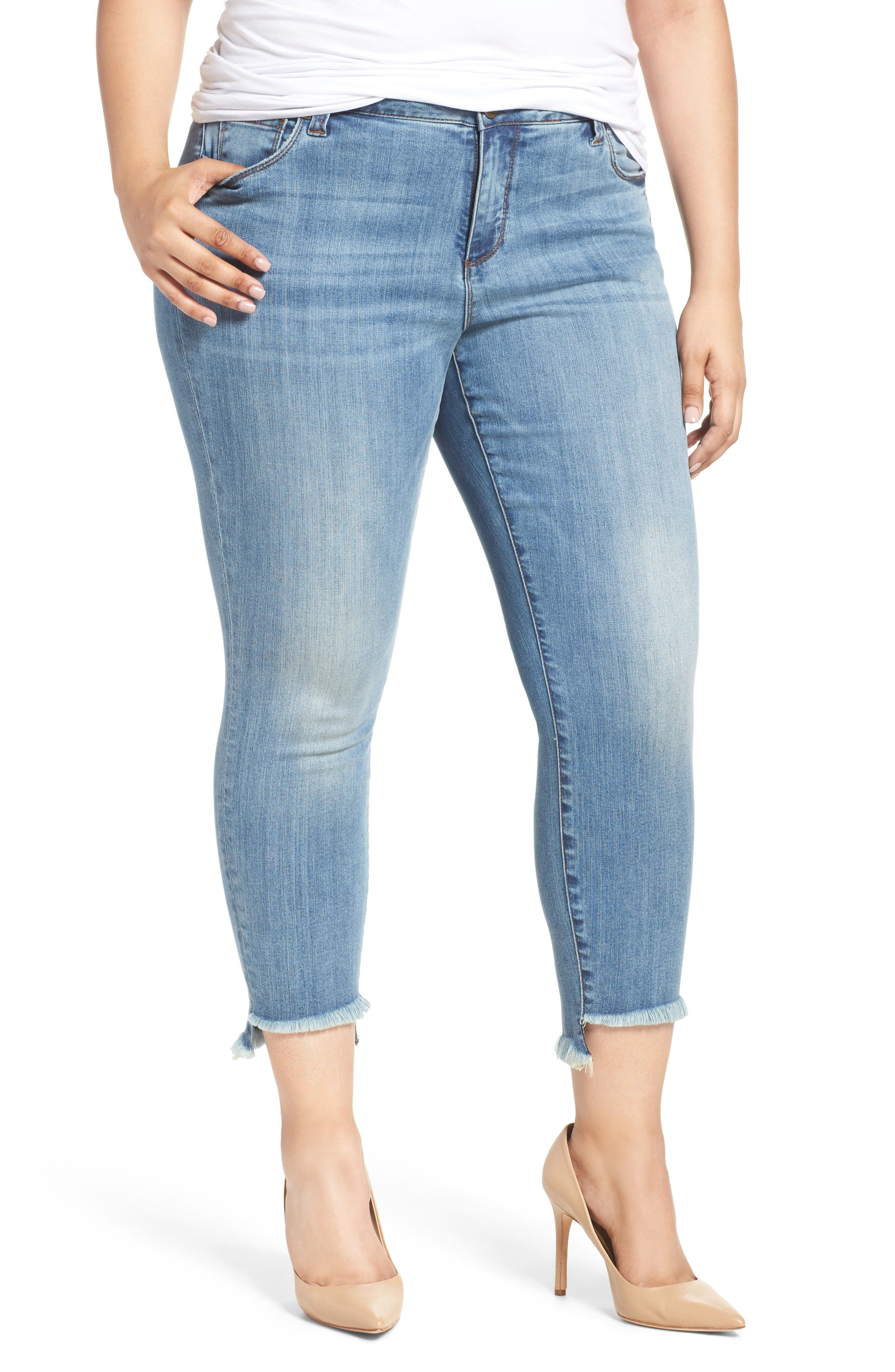 KUT from the Kloth Reese Stretch Uneven Hem Ankle Skinny Jeans (Participation) (Plus Size)