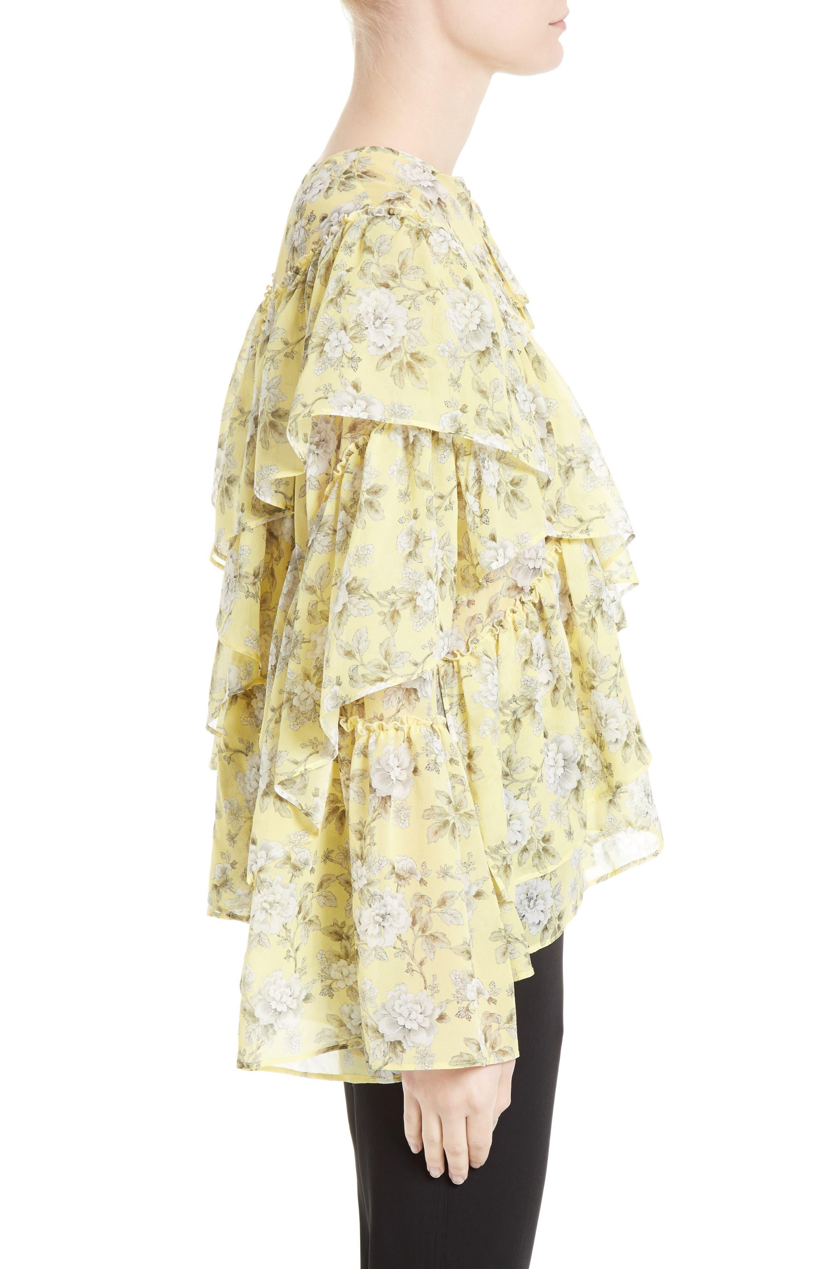 Alternate Image 3  - Robert Rodriguez Ruffle Floral Print Silk Blouse