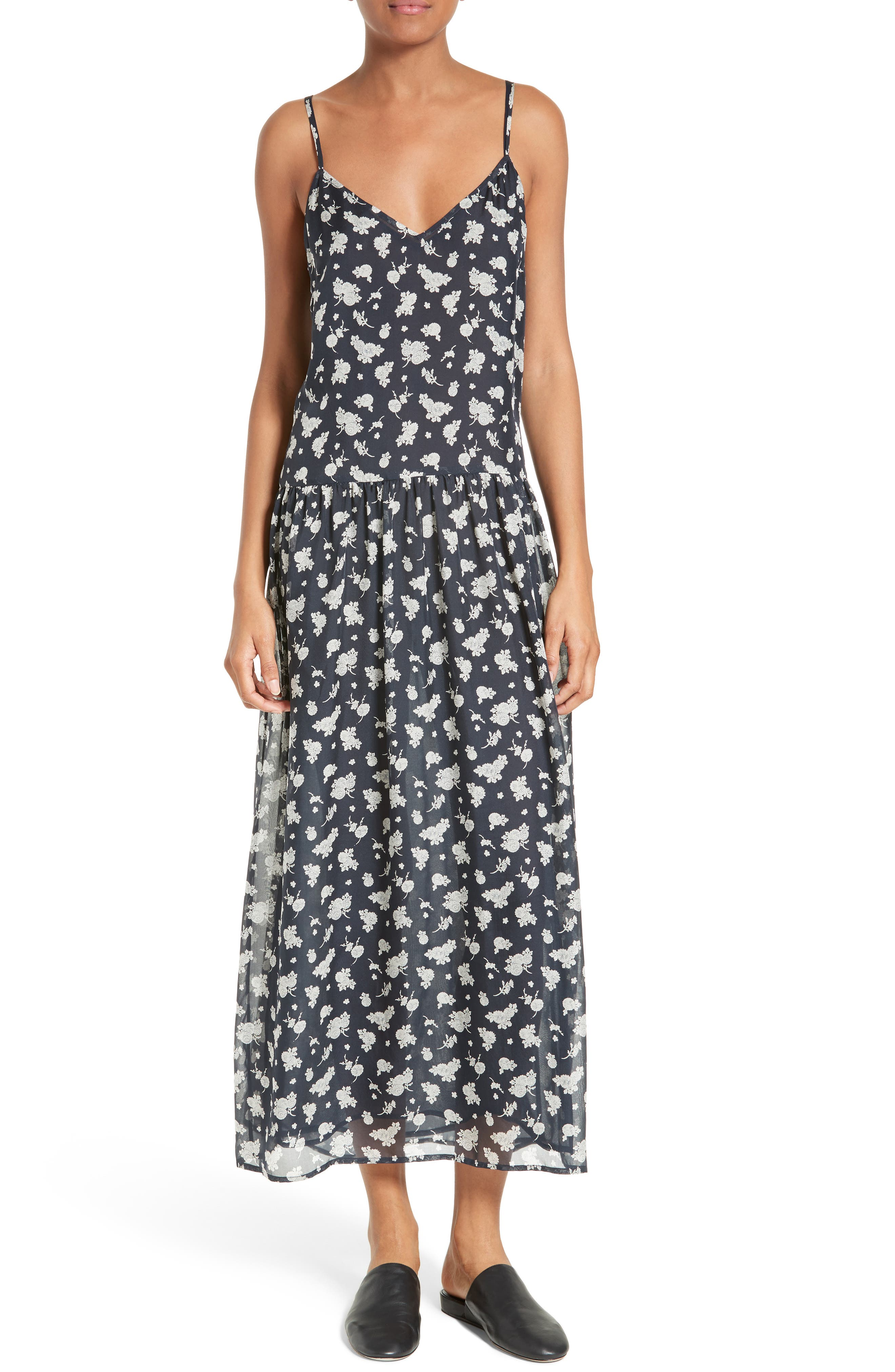 Vince Calico Floral Drop Waist Silk Slipdress