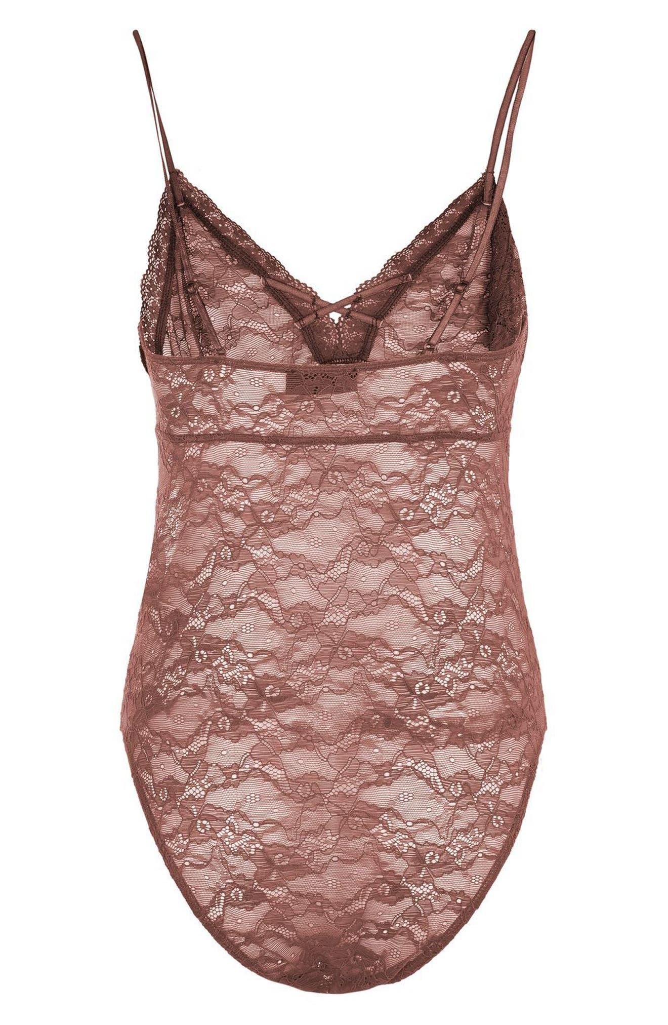 Alternate Image 2  - Topshop Sheer Lace Bodysuit
