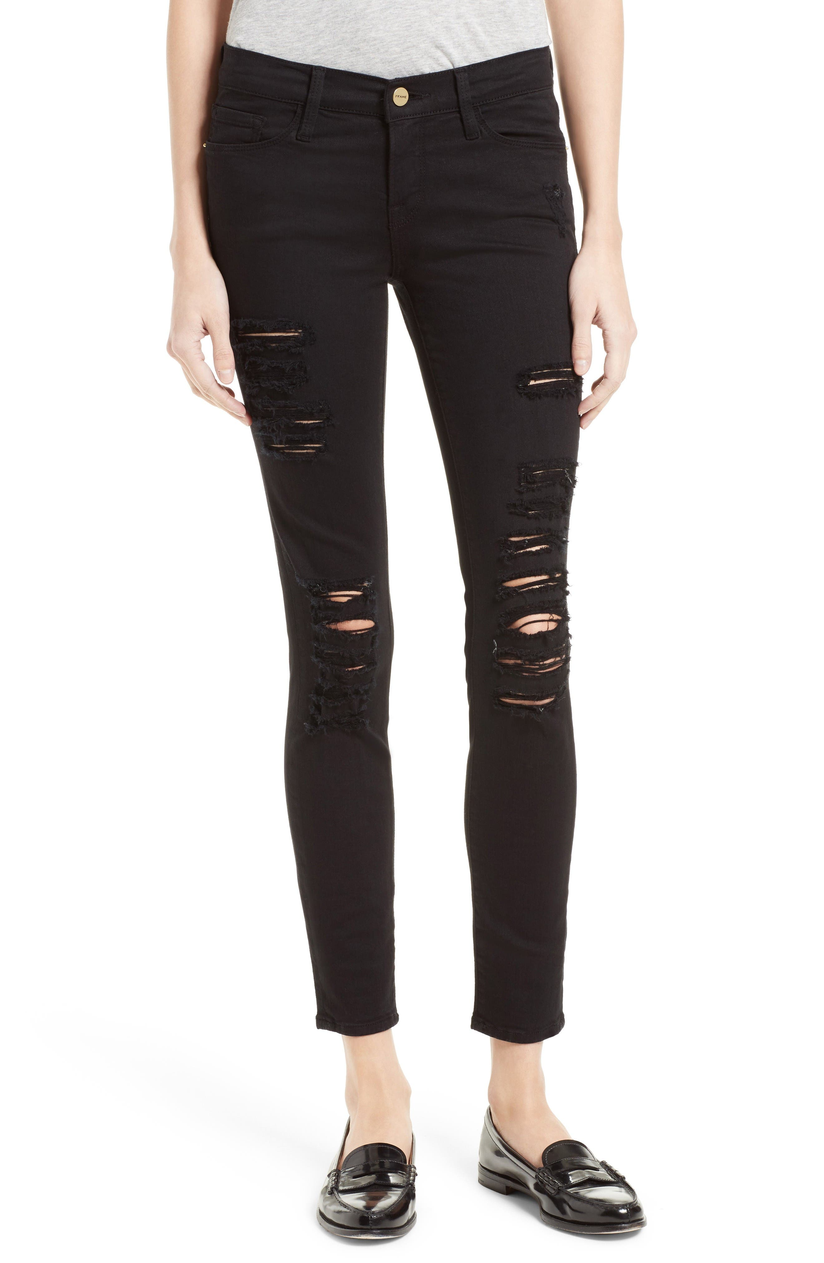 FRAME Le Color Rip Skinny Jeans (Film Noir)