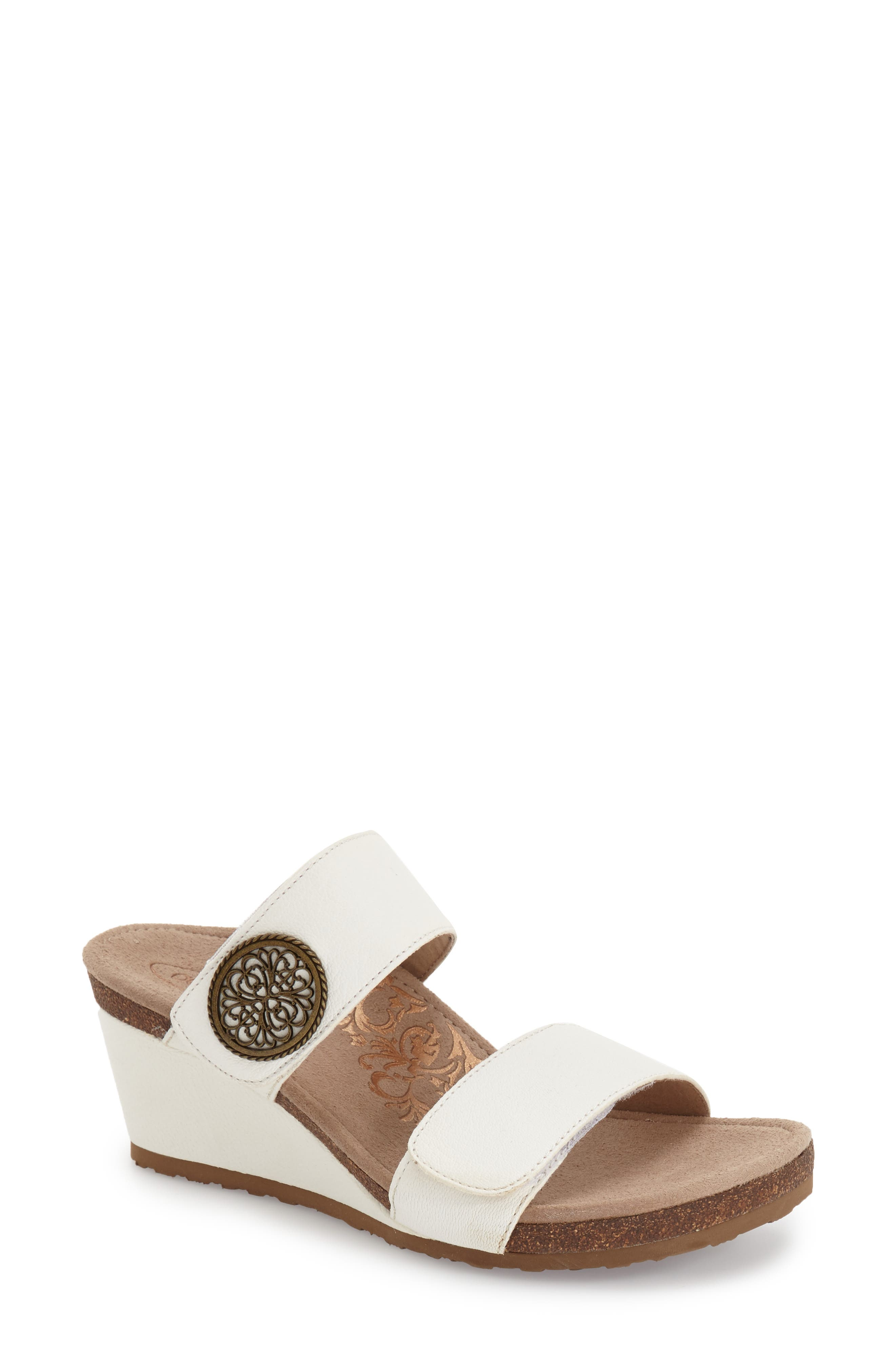 AETREX 'Marilyn' Leather Wedge Sandal