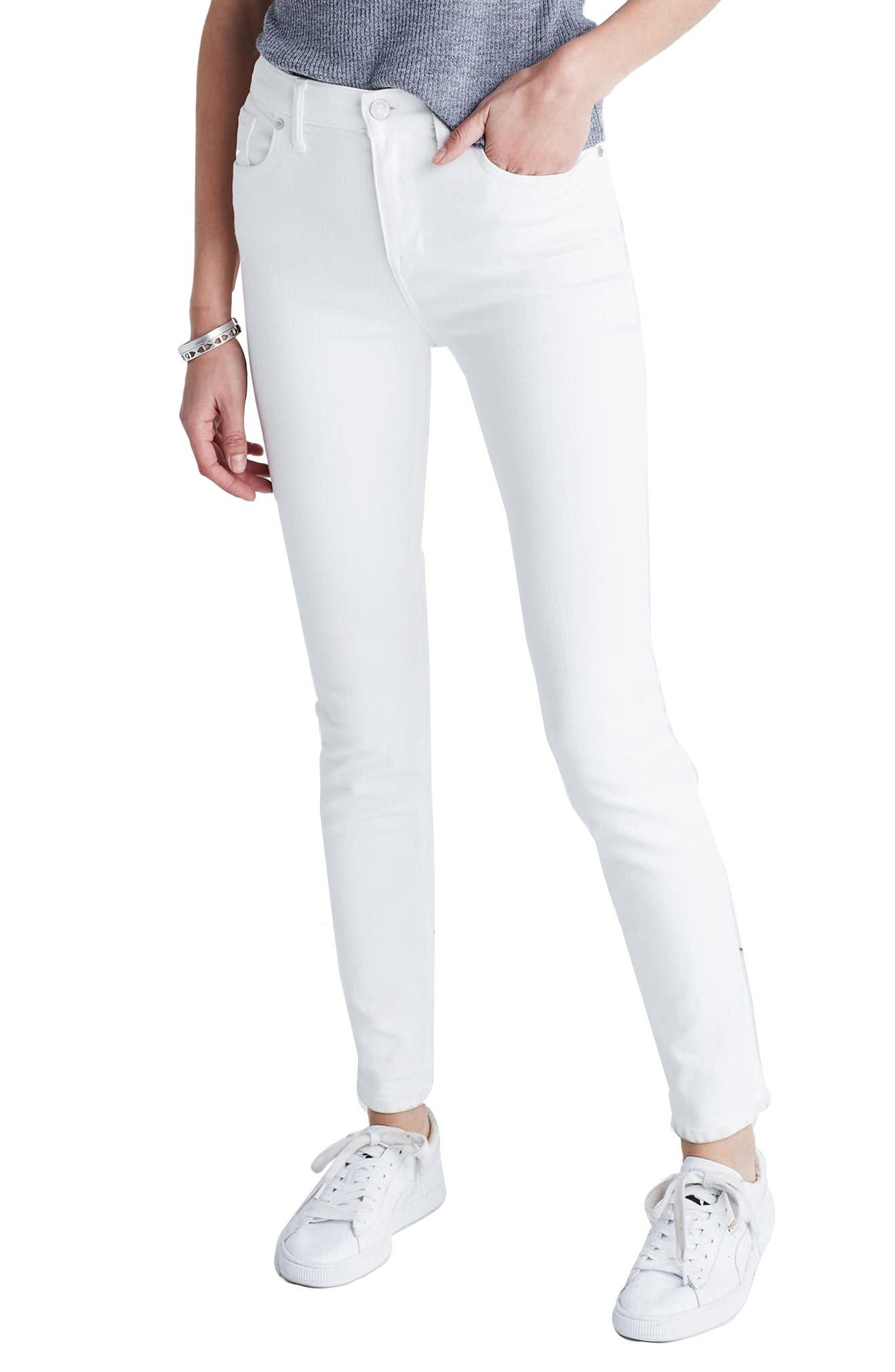 Alternate Image 1 Selected - Madewell High Riser Skinny Jeans (Pure White)