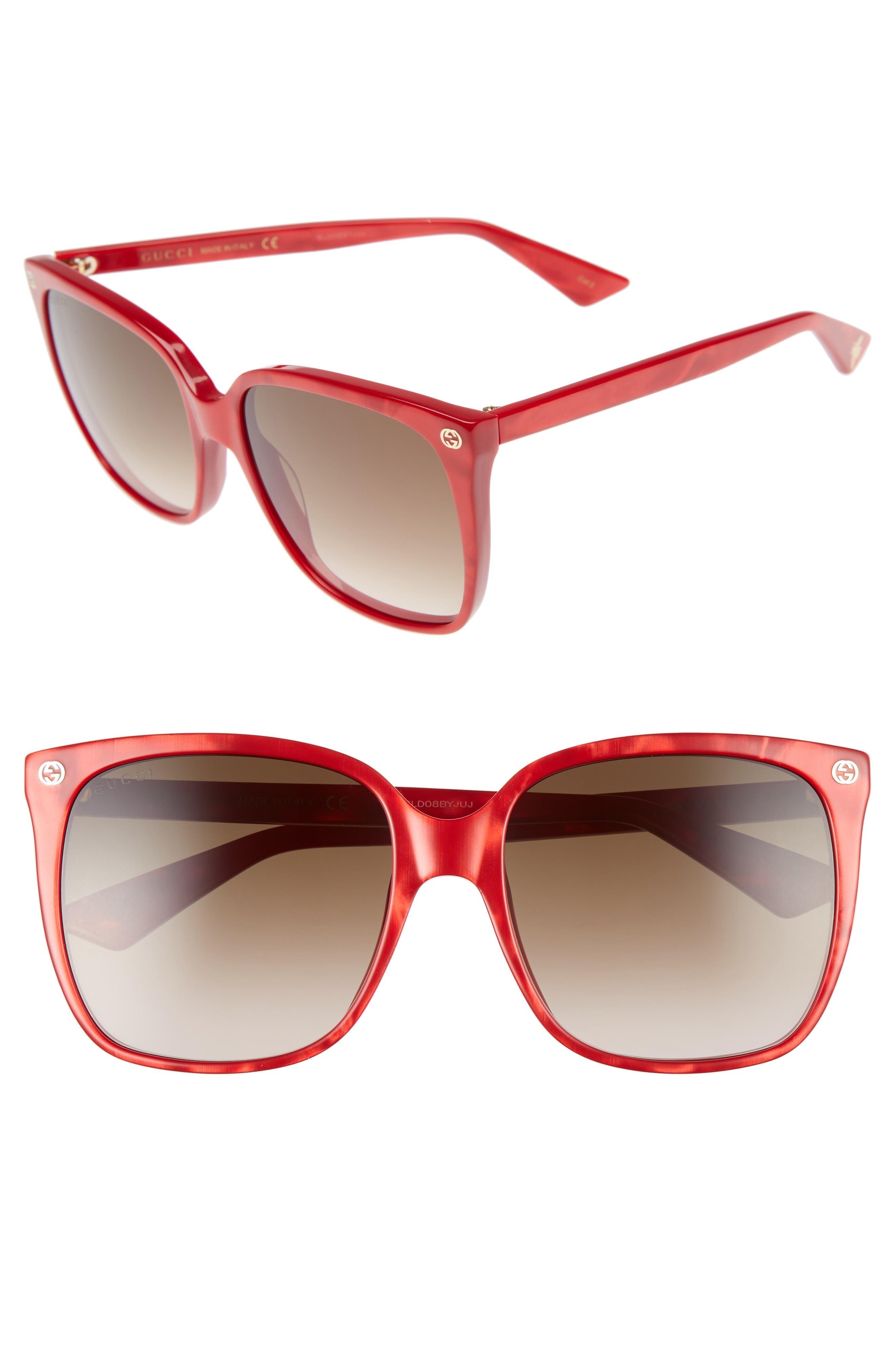 Alternate Image 1 Selected - Gucci 57mm Square Sunglasses