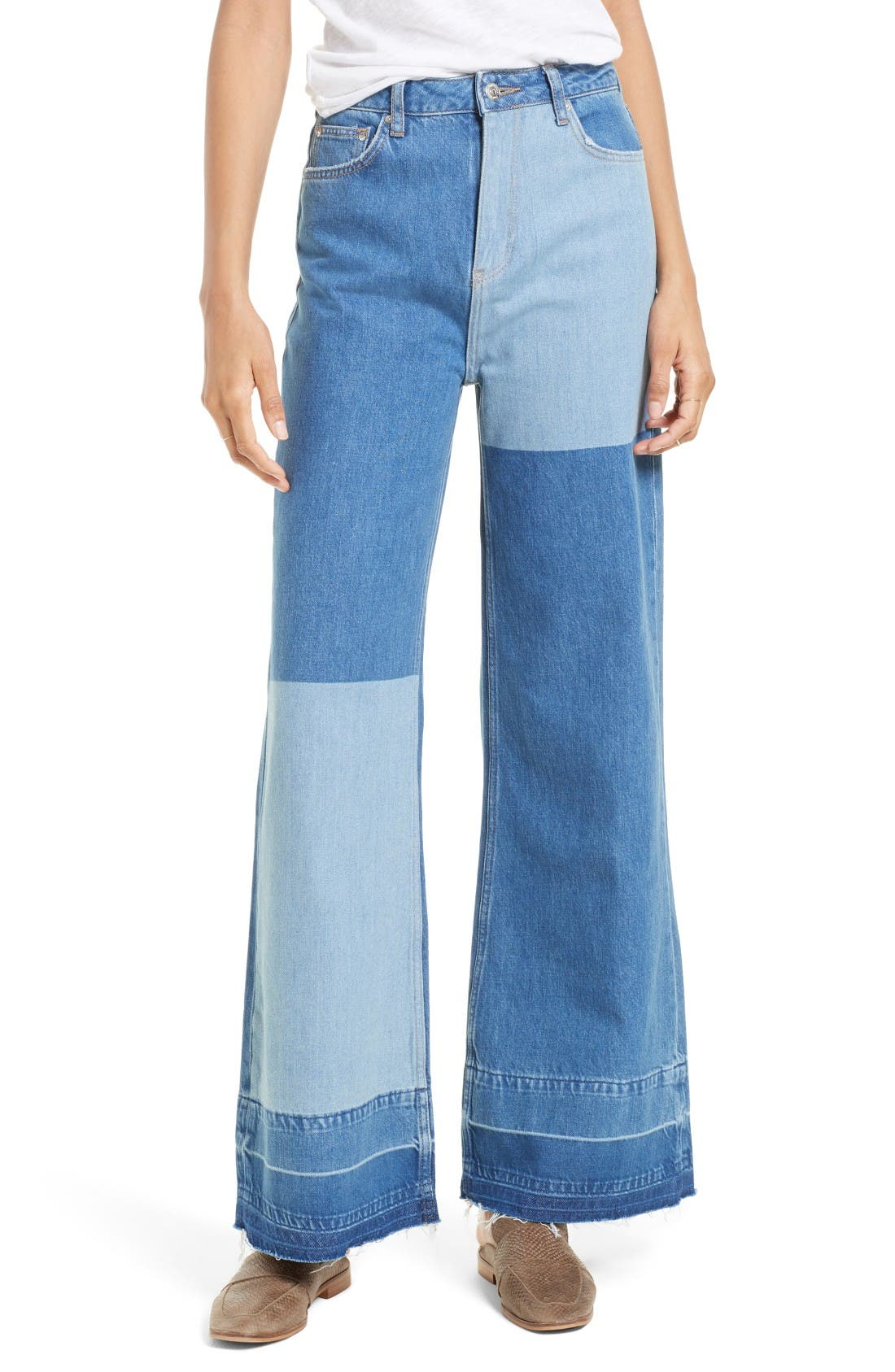 Alternate Image 1 Selected - Free People The Wideleg High Waist Patchwork Jeans