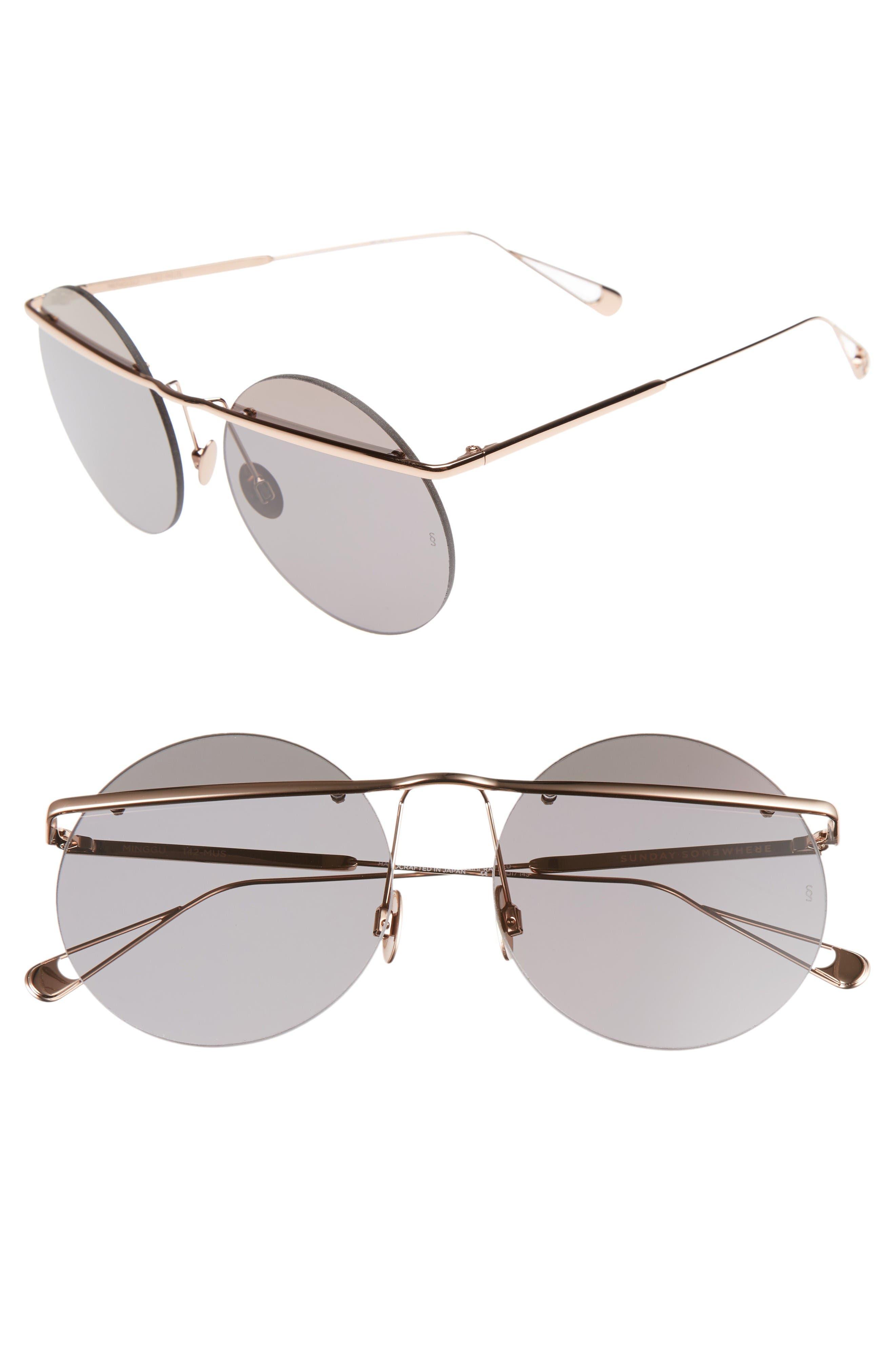 Main Image - SUNDAY SOMEWHERE Minggu 57mm Round Rimless Sunglasses