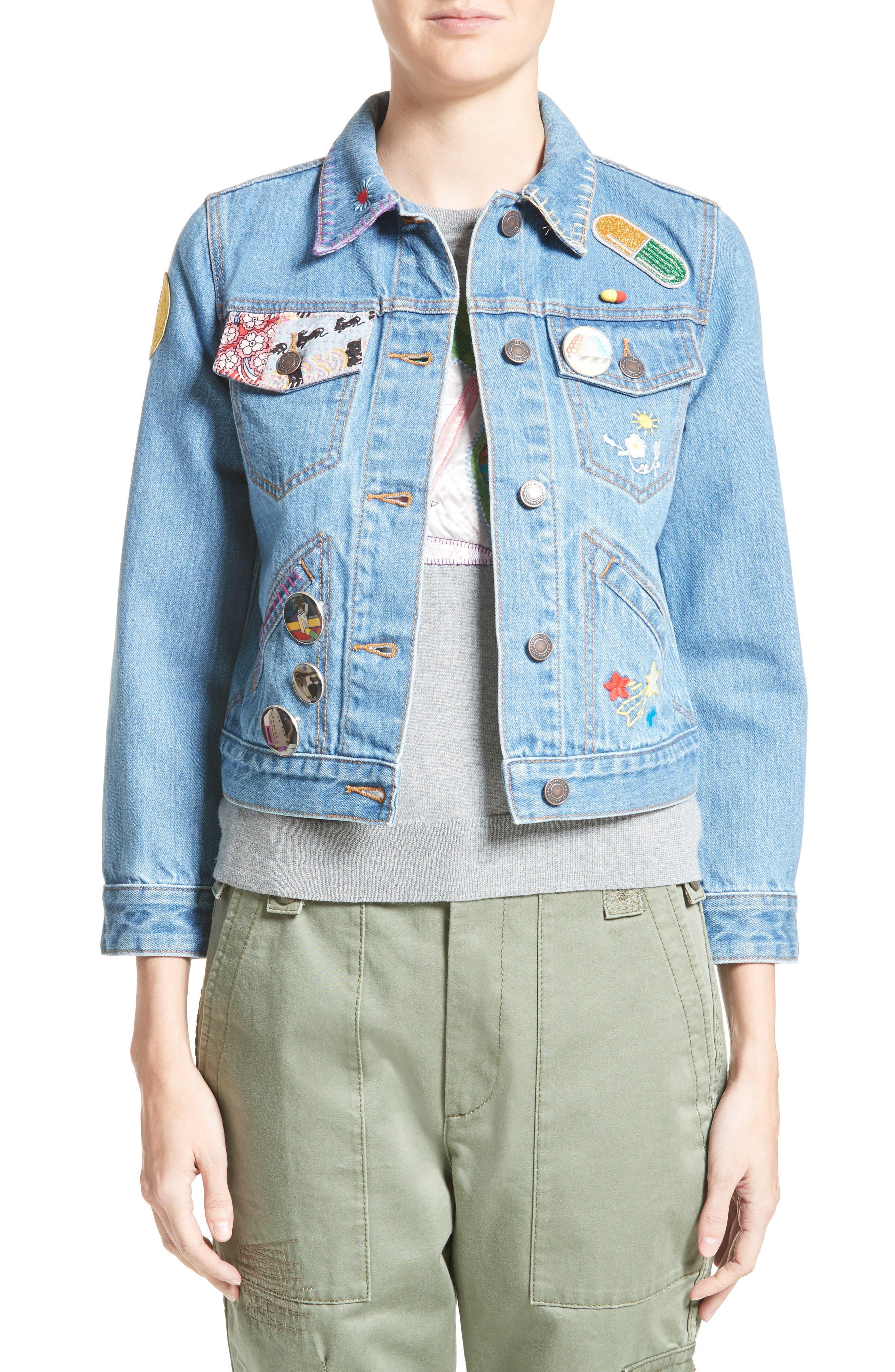 MARC JACOBS Embellished Shrunken Denim Jacket
