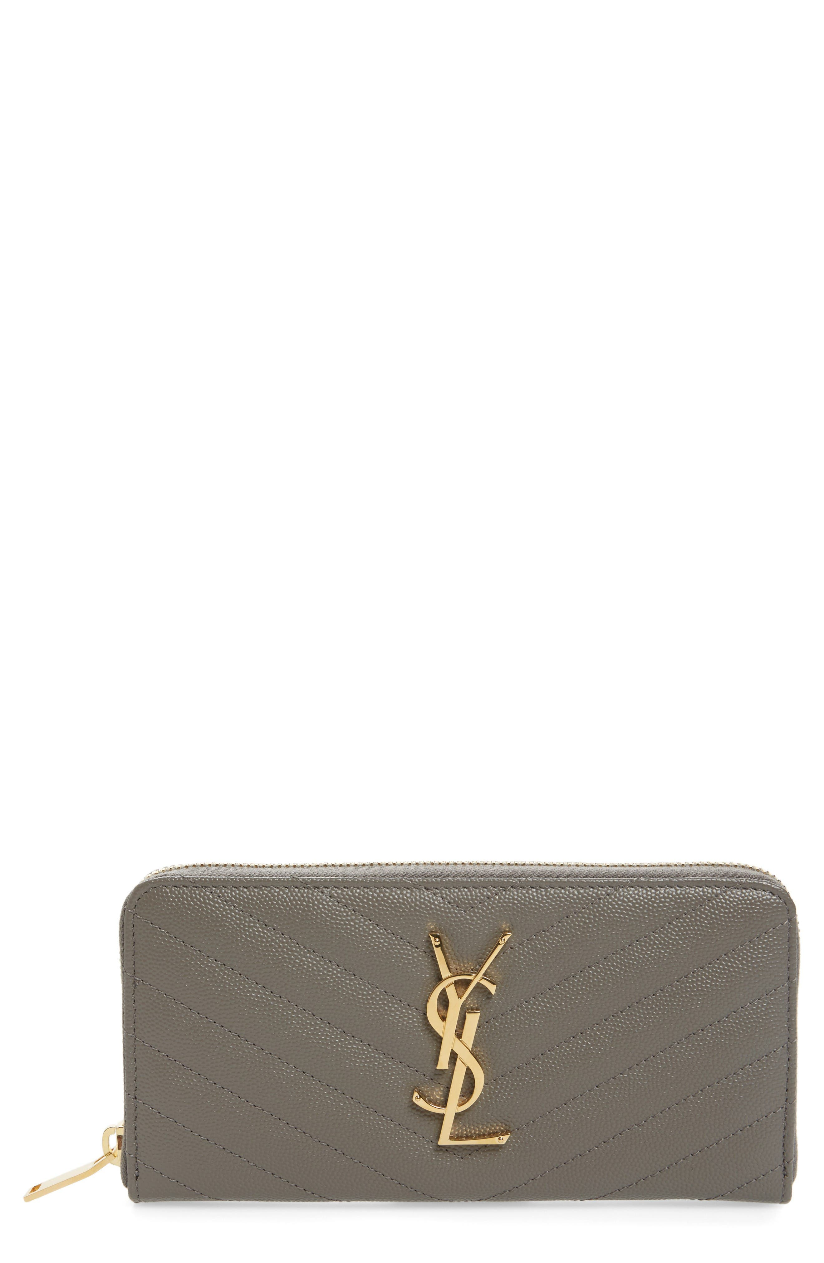 SAINT LAURENT 'Monogram' Quilted Leather Wallet