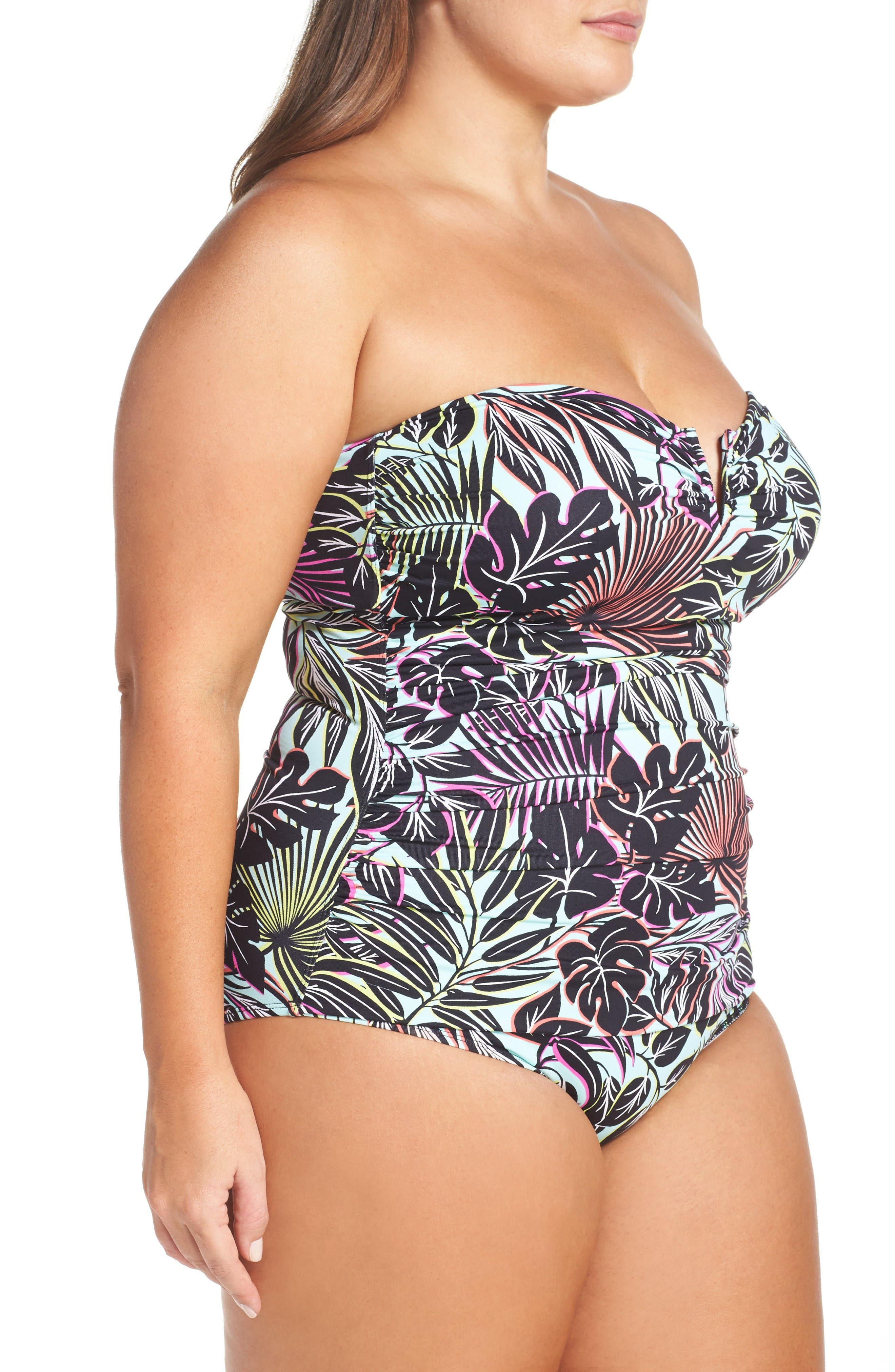 Alternate Image 3  - Tommy Bahama Lively Leaves One-Piece Swimsuit (Plus Size)