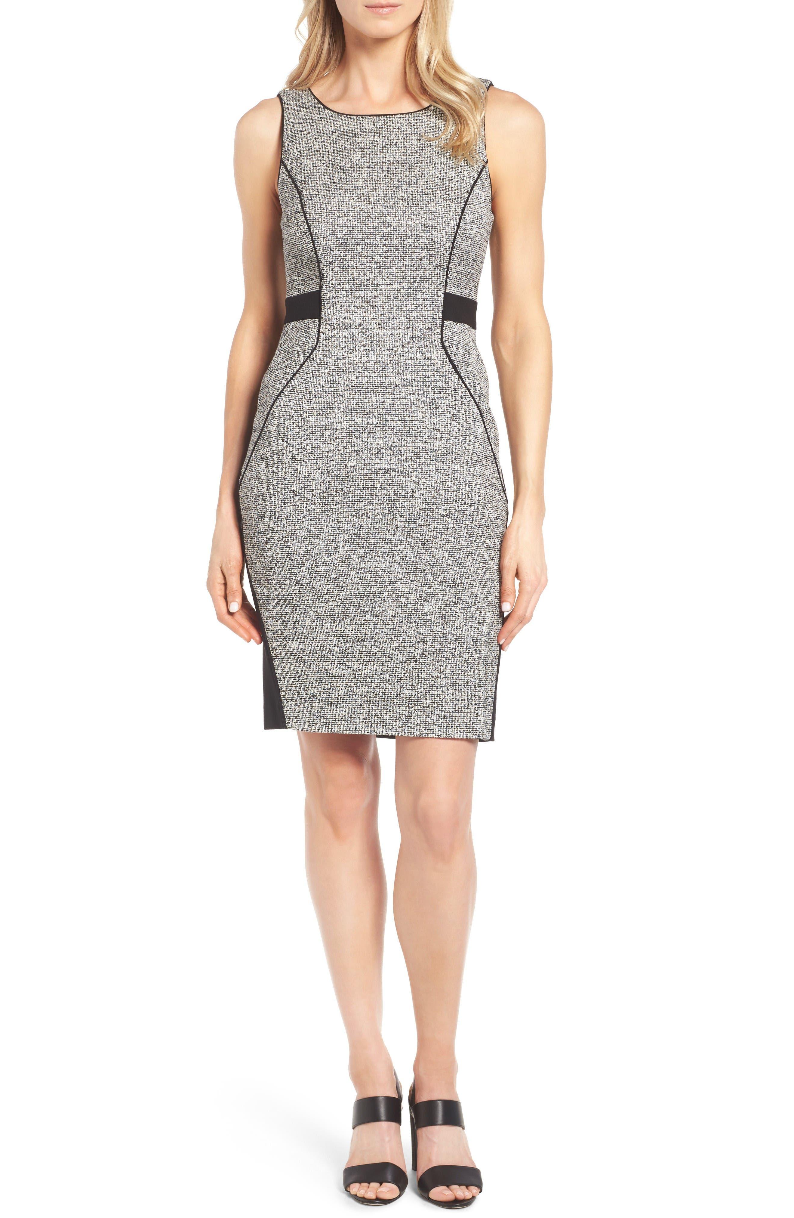 Classiques Entier® Tweed & Ponte Knit Sheath Dress