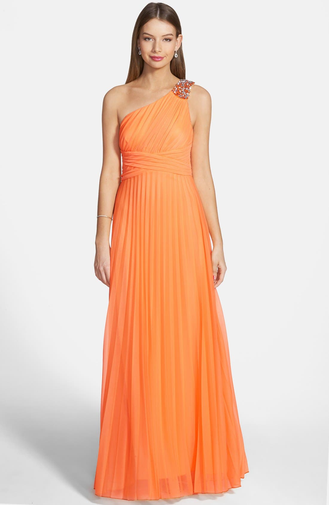 Main Image - Way-In One Shoulder Pleated Neon Gown (Juniors)