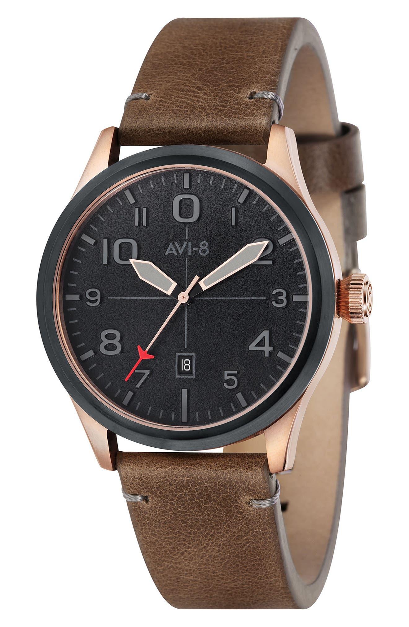 AVI-8 Flyboy Leather Strap Watch, 43mm