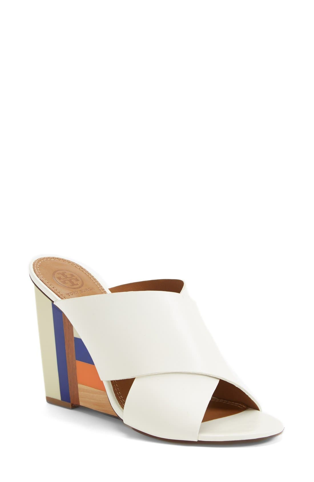 Main Image - Tory Burch 'Cube' Leather Crossover Strap Wedge Sandal (Women)