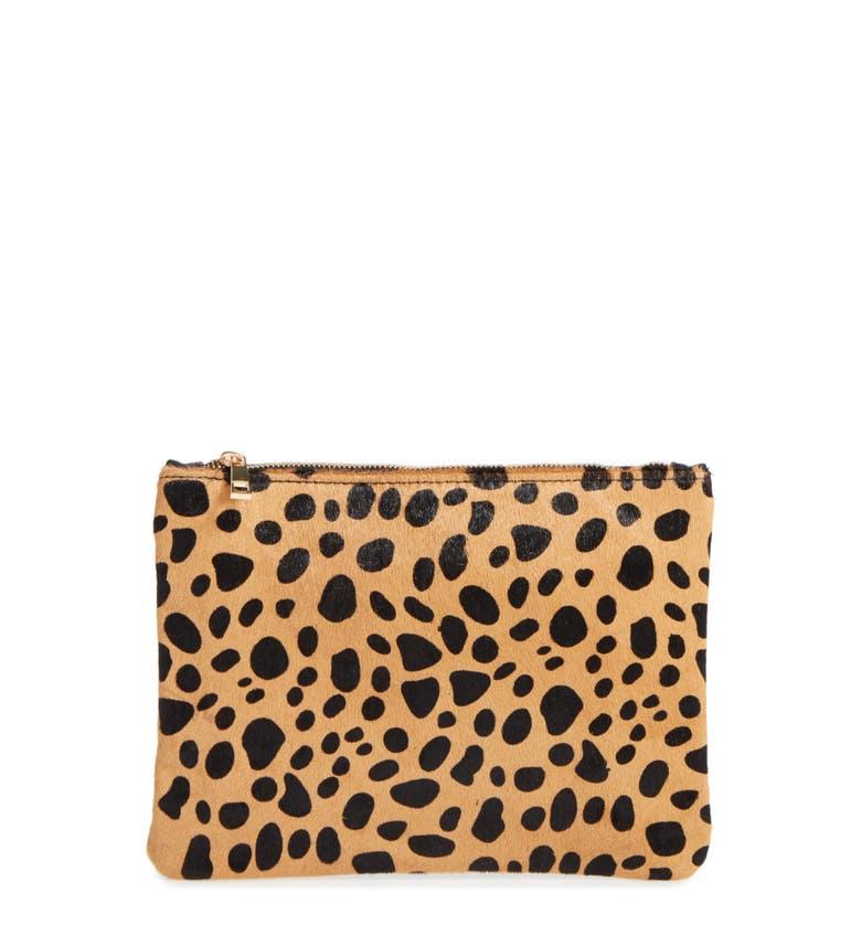 Main Image - BP. Leopard Print Genuine Calf Hair Pouch