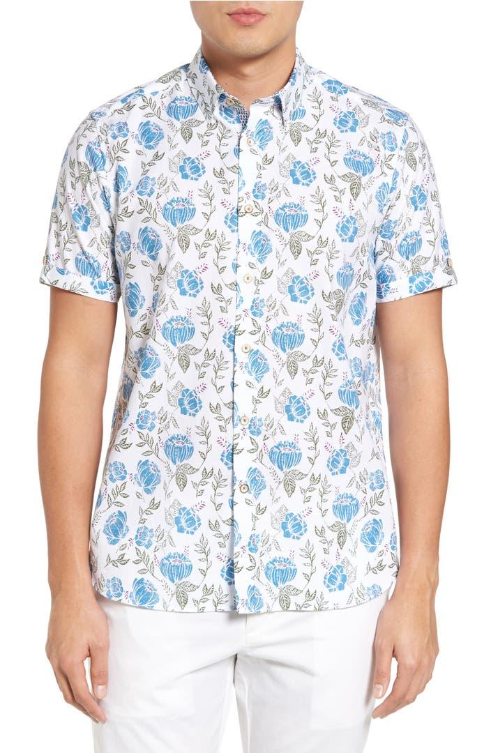 Ted baker london jorge floral print shirt nordstrom for Ted baker floral print shirt