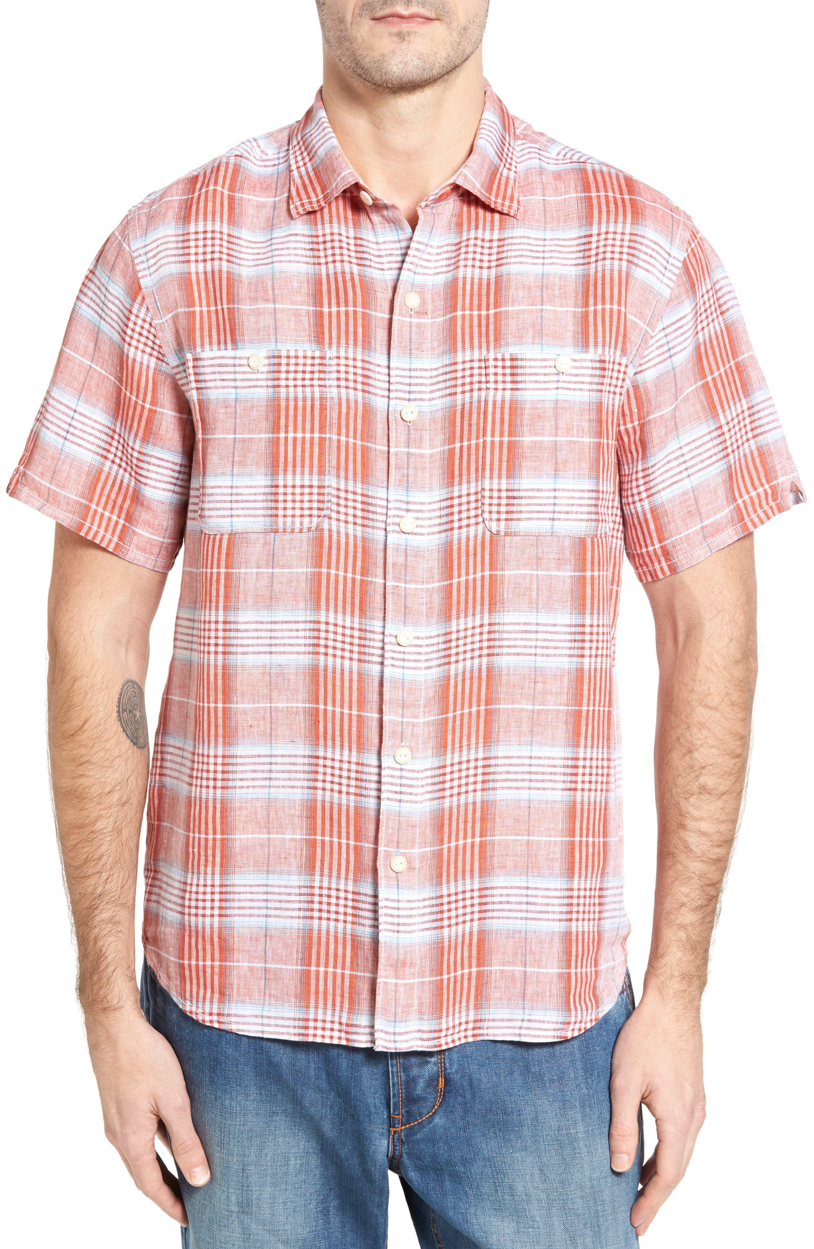 Tommy Bahama Caldera Plaid Linen Sport Shirt (Big & Tall)