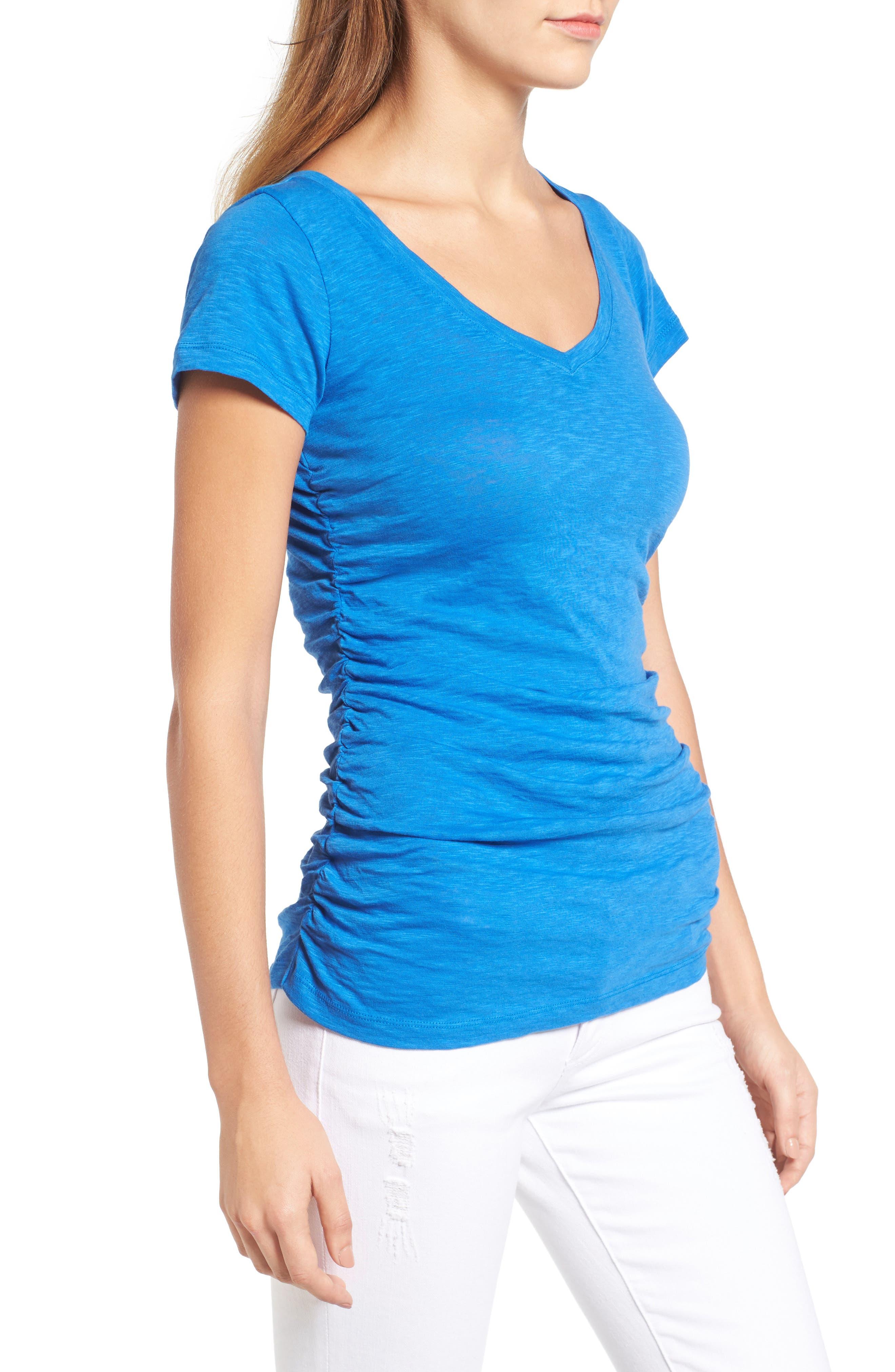 Alternate Image 3  - Caslon® Shirred V-Neck Tee (Regular & Petite)