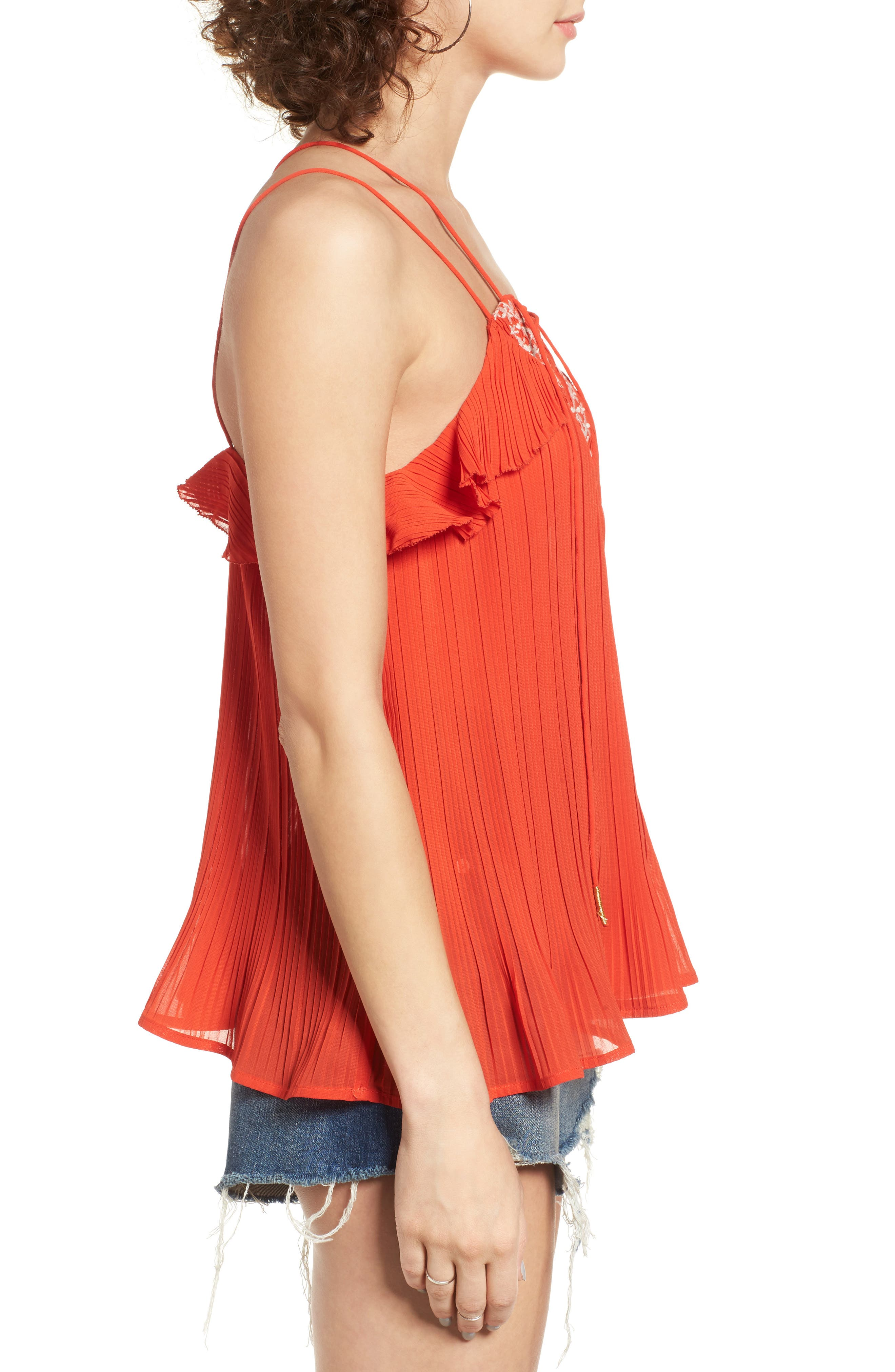 Alternate Image 4  - MOON RIVER Lace-Up Pleated Tank