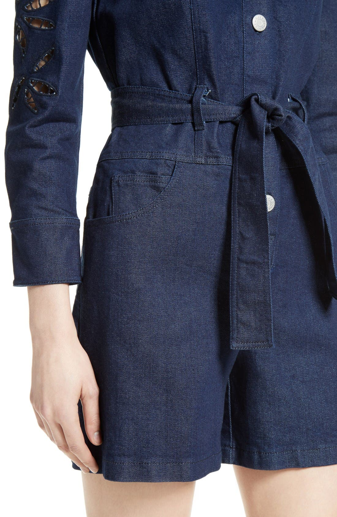Alternate Image 5  - See by Chloé Embroidered Denim Romper (Nordstrom Exclusive)