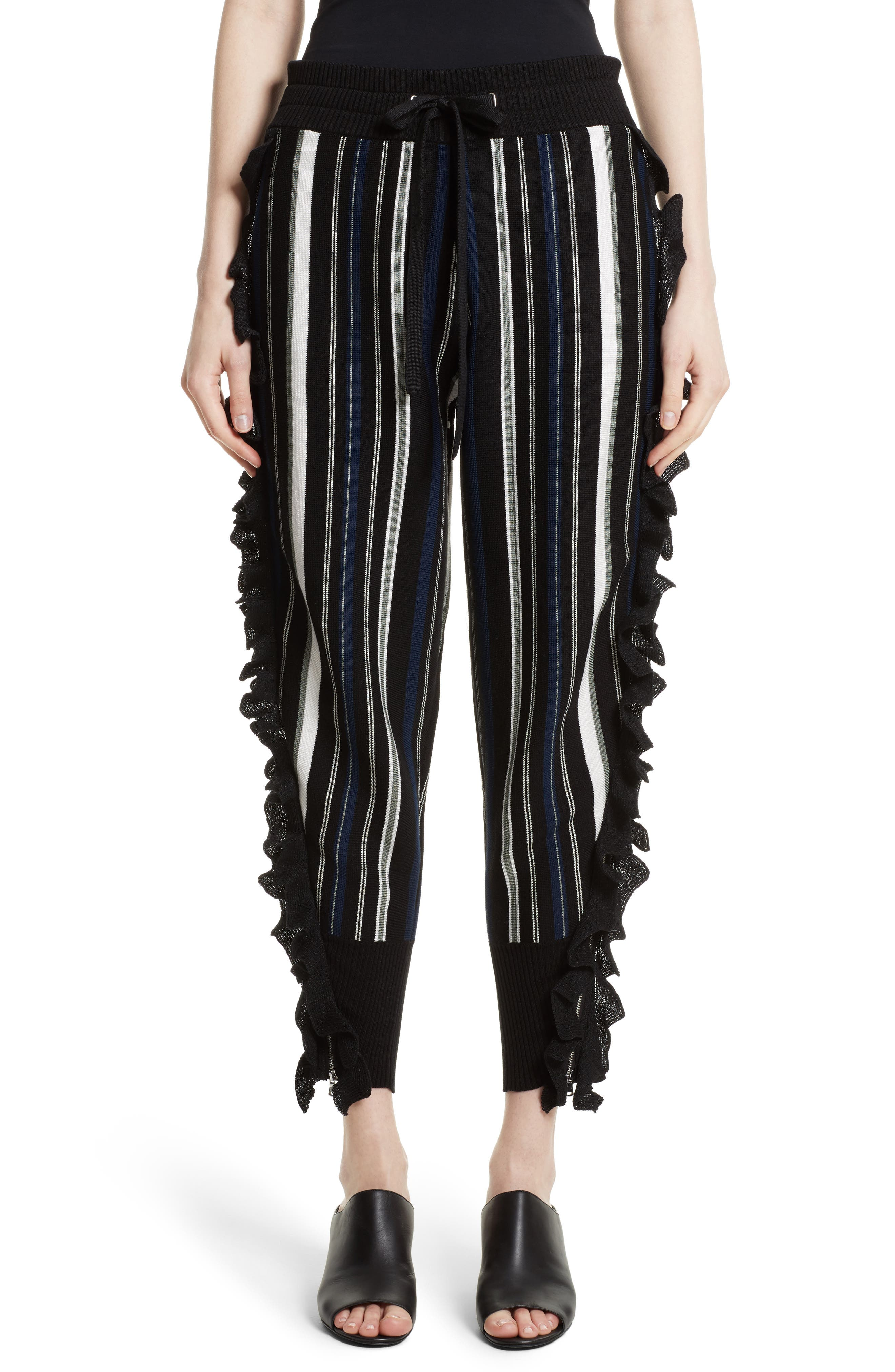 Alternate Image 1 Selected - 3.1 Phillip Lim Ruffle Stripe Knit Pants