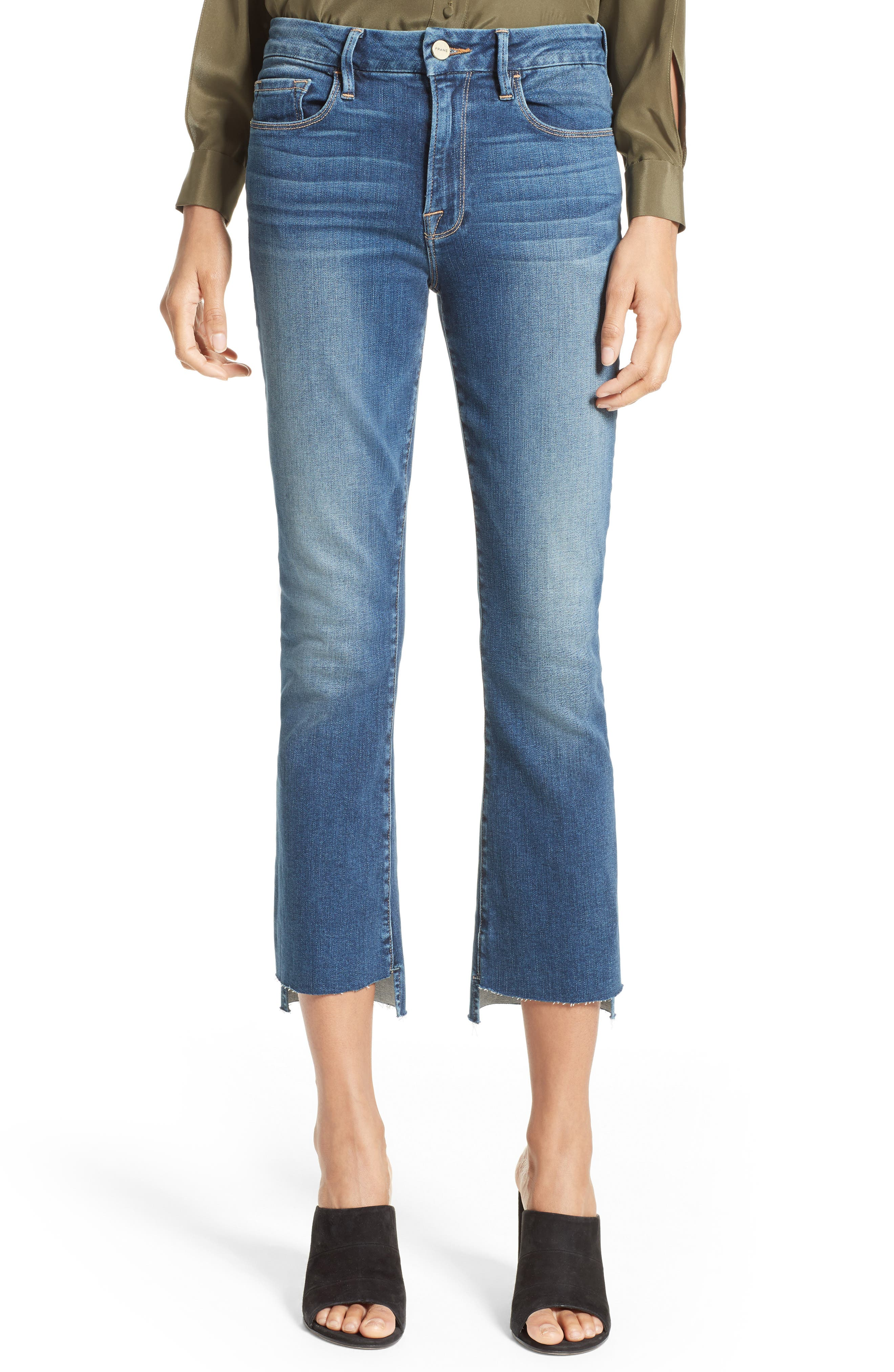 Main Image - FRAME Le Crop Mini Boot Stagger Hem Jeans (Clifton) (Nordstrom Exclusive)