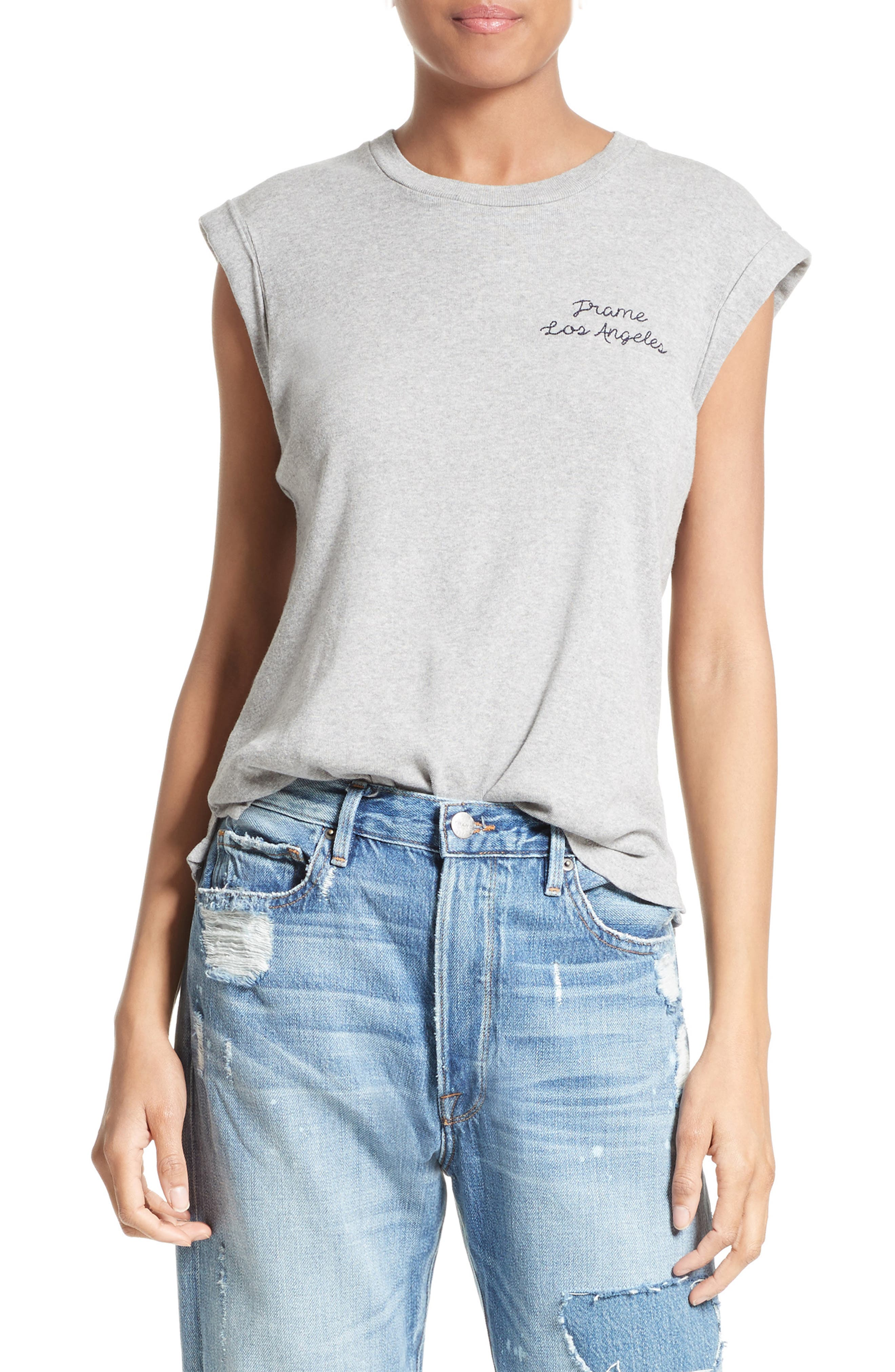 FRAME Embroidered Muscle Tee