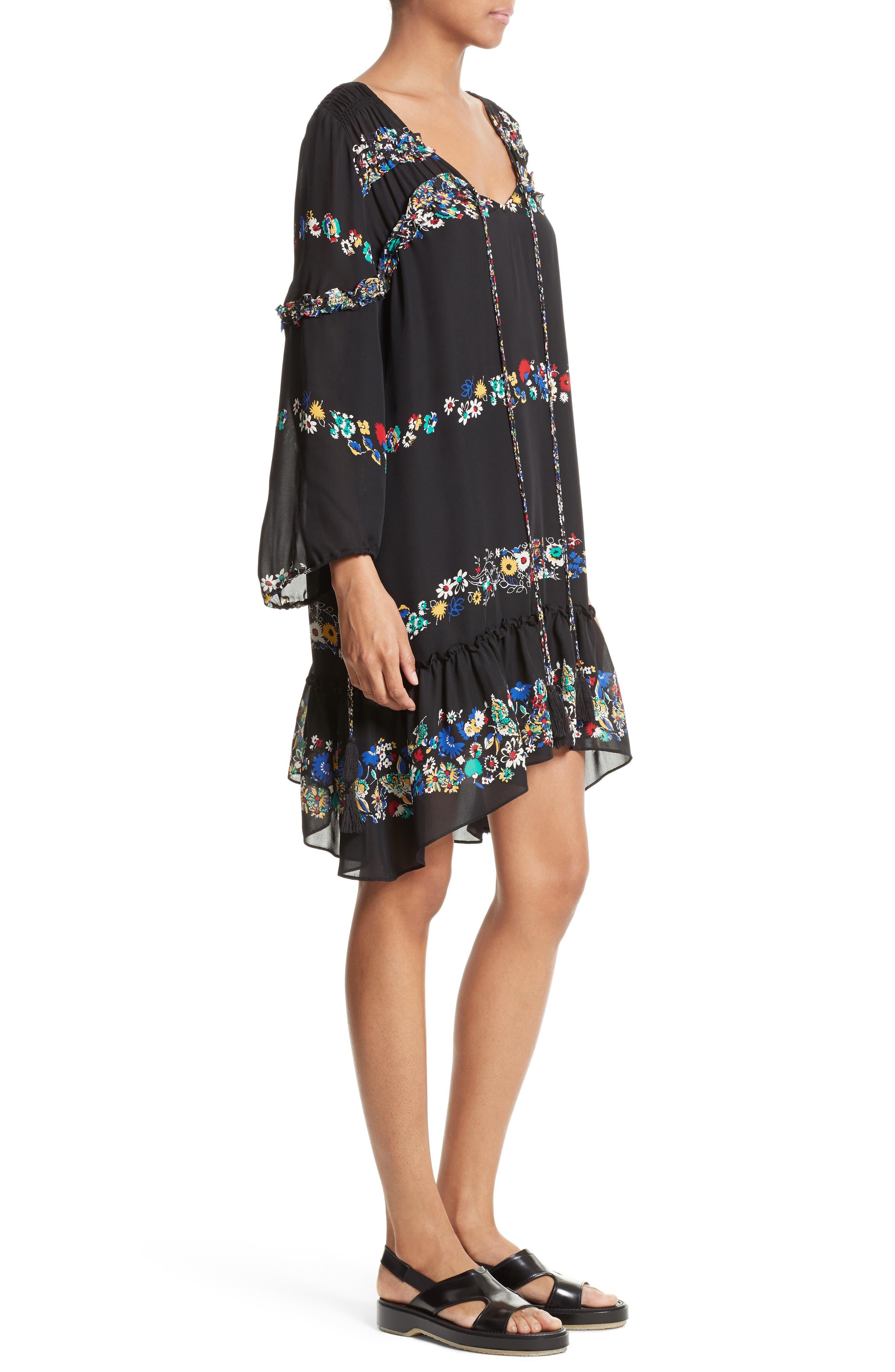 Alternate Image 3  - Derek Lam 10 Crosby Floral Stripe Ruffle Silk Dress