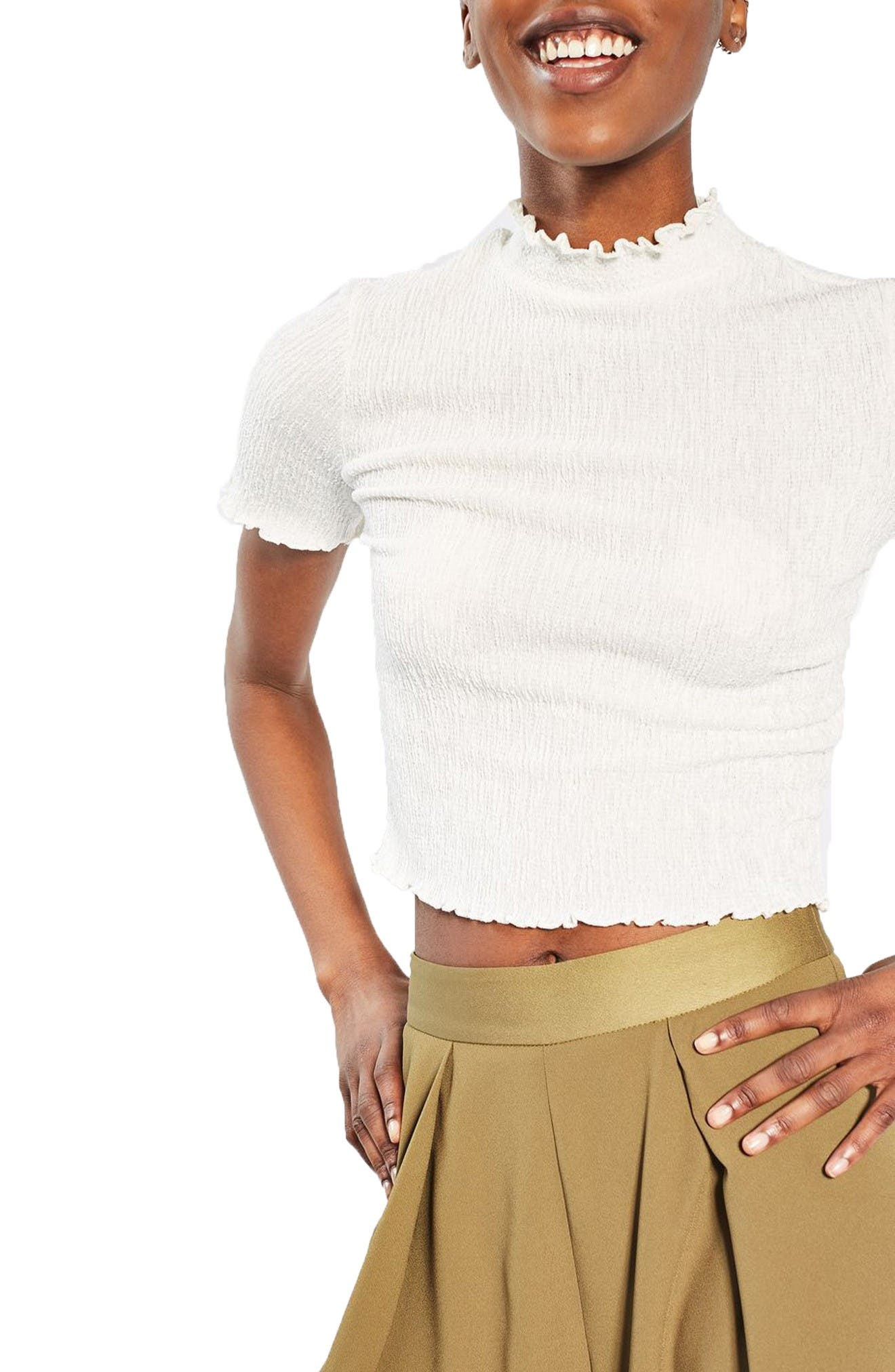 Alternate Image 1 Selected - Topshop Textured Ruffle Edge Tee