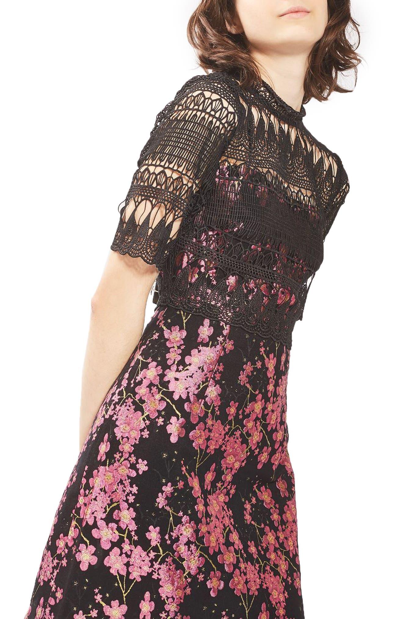 Main Image - Topshop Lace & Jacquard Dress