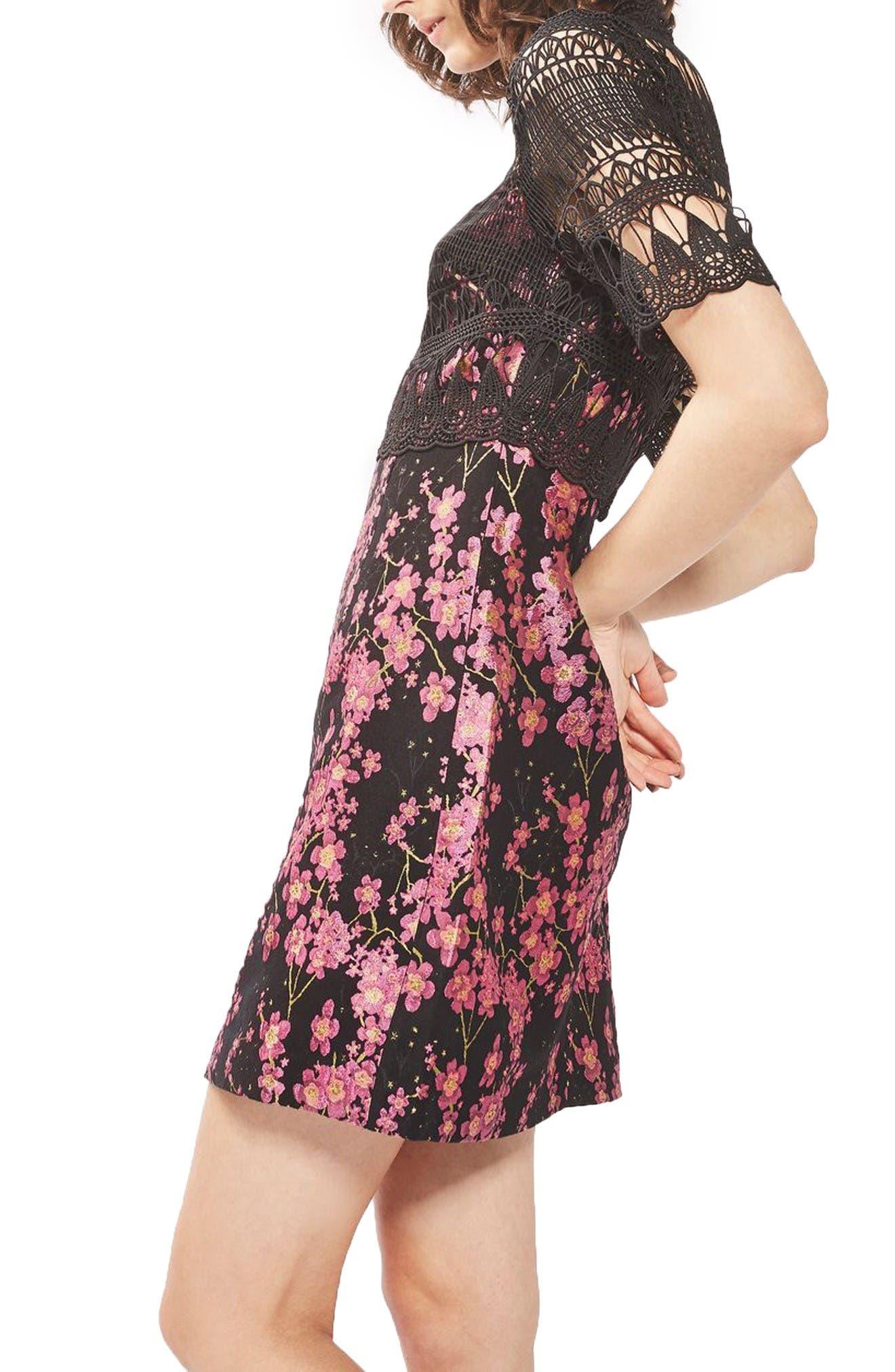 Alternate Image 3  - Topshop Lace & Jacquard Dress