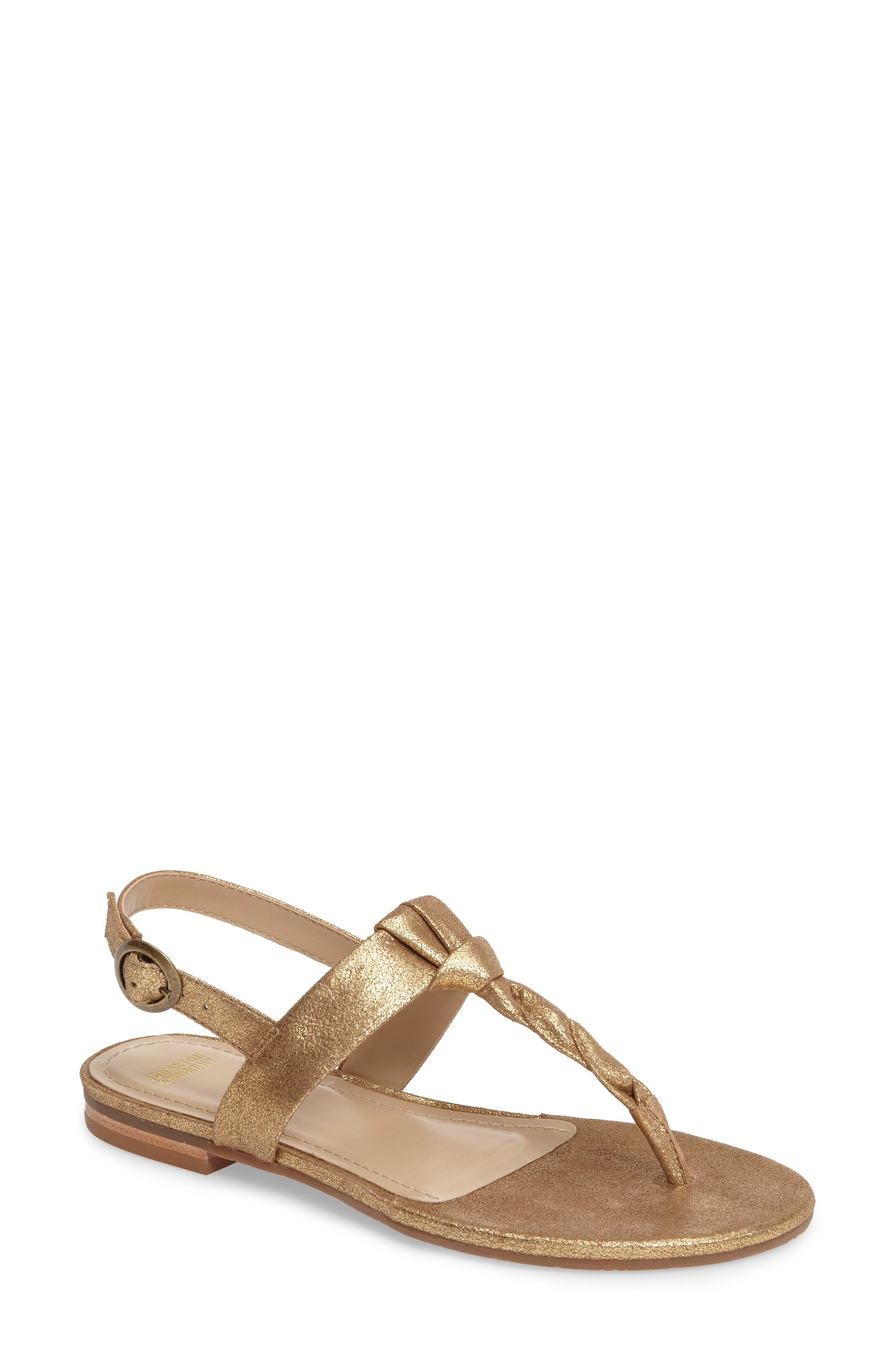 Alternate Image 1 Selected - Johnston & Murphy Holly Twisted T-Strap Sandal (Women)