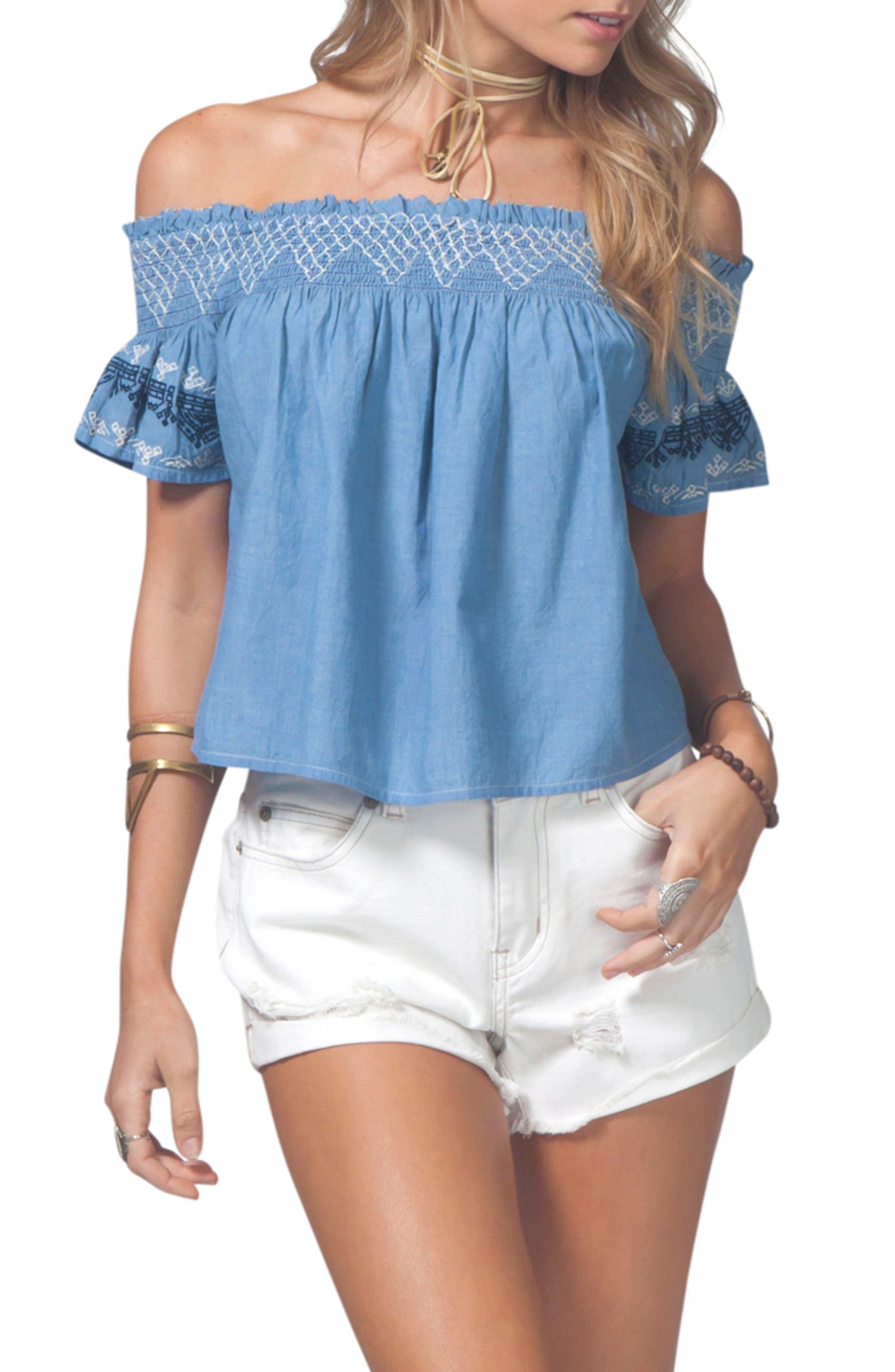 Rip Curl Bianca Embroidered Off the Shoulder Top