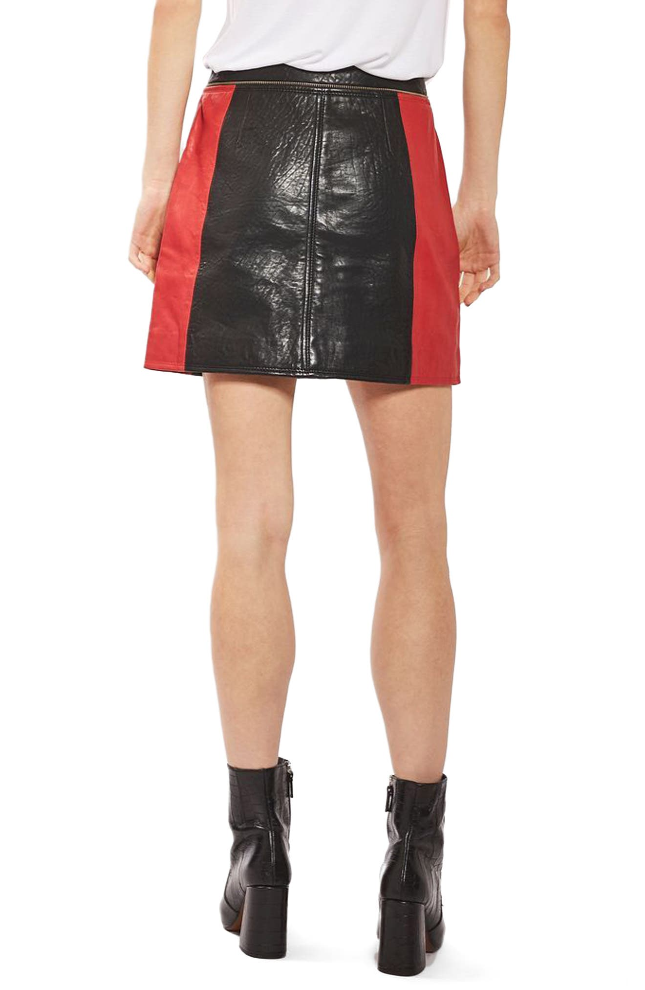 Alternate Image 3  - Topshop Colorblock Leather Skirt