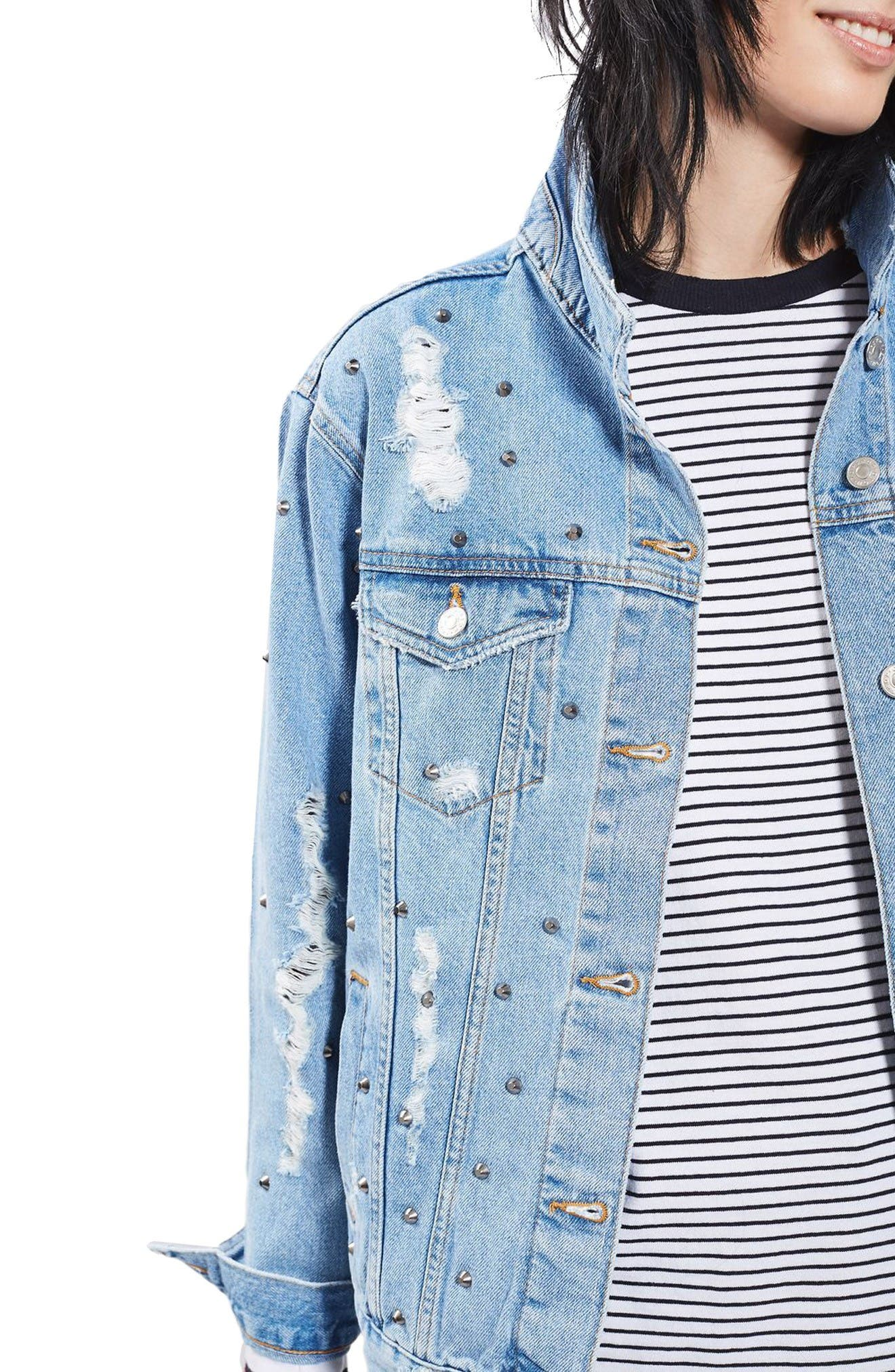 Alternate Image 4  - Topshop Studded Distressed Denim Jacket (Regular & Petite)