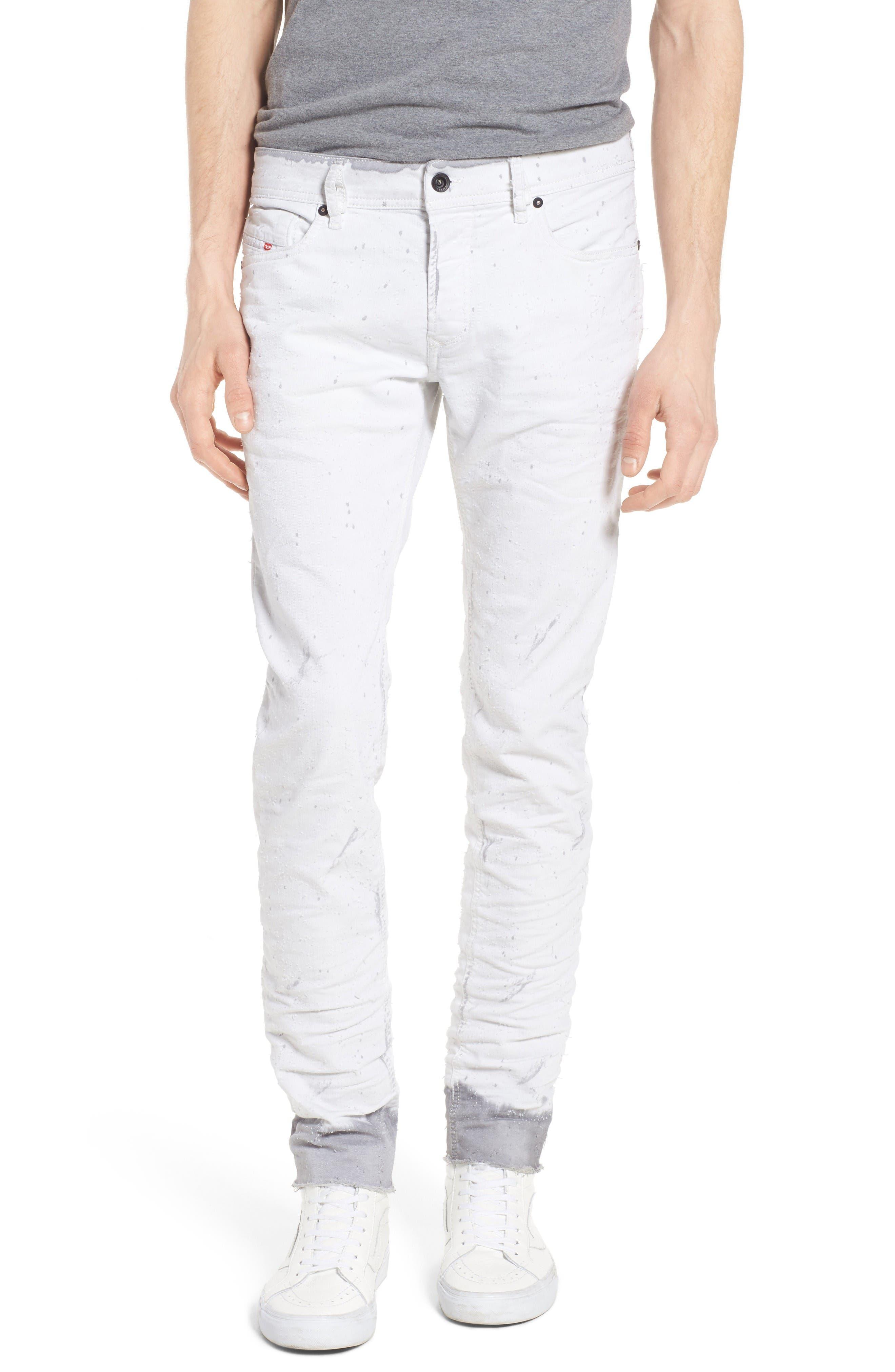 DIESEL® Sleenker Skinny Fit Cutoff Jeans (0860B)