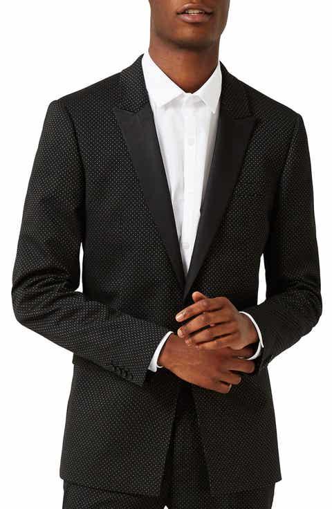 Topman Skinny Fit Pin Dot Tuxedo Jacket